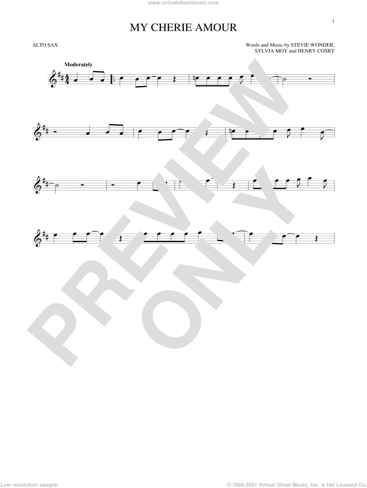 My Cherie Amour sheet music for alto saxophone solo by Stevie Wonder, Henry Cosby and Sylvia Moy, intermediate skill level