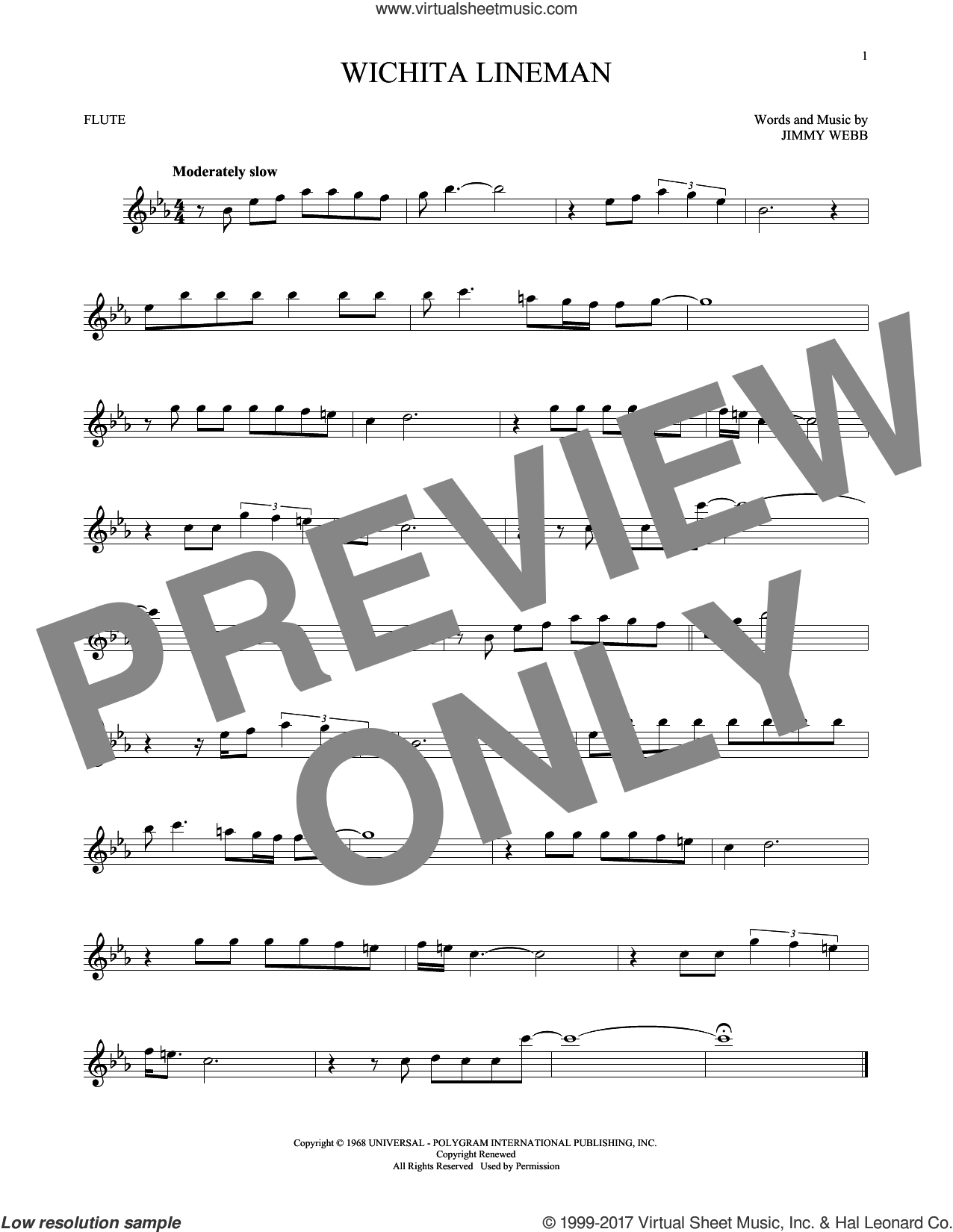 Wichita Lineman sheet music for flute solo by Glen Campbell and Jimmy Webb, intermediate skill level