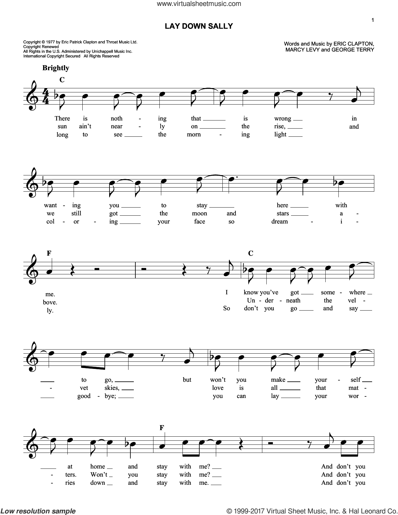 Lay Down Sally sheet music for voice and other instruments (fake book) by Eric Clapton, George Terry and Marcy Levy, intermediate skill level