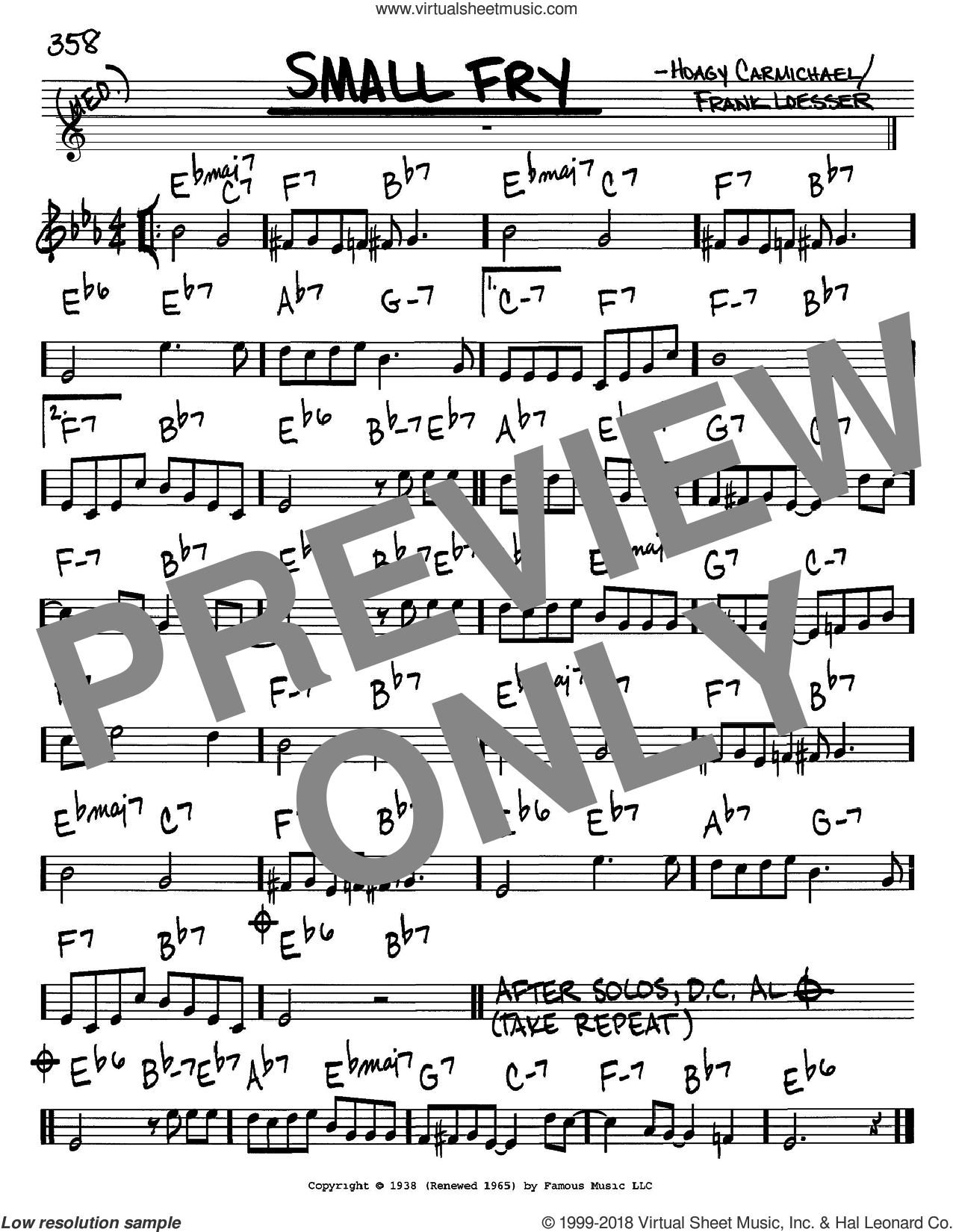 Small Fry sheet music for voice and other instruments (C) by Frank Loesser