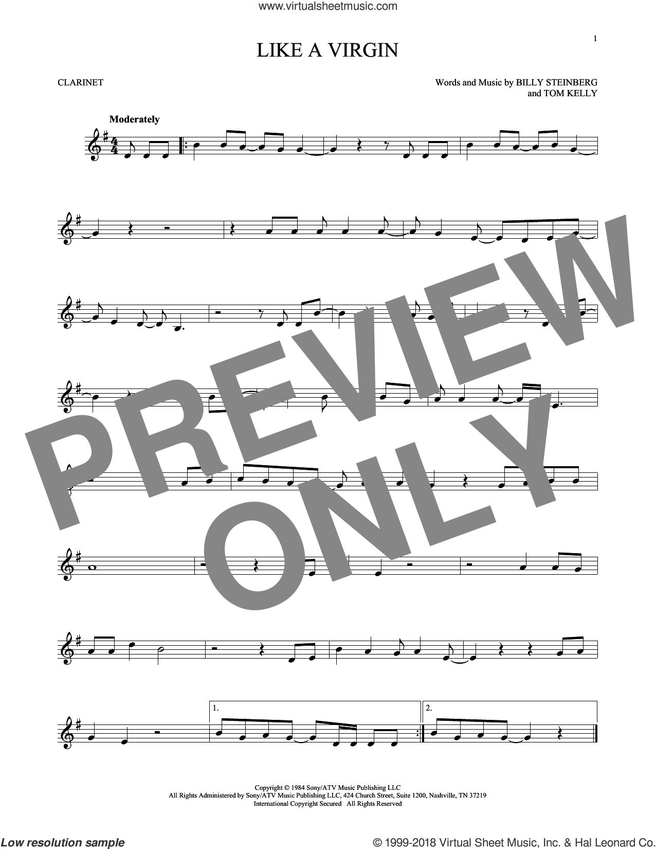 Like A Virgin sheet music for clarinet solo by Tom Kelly, Madonna and Billy Steinberg. Score Image Preview.