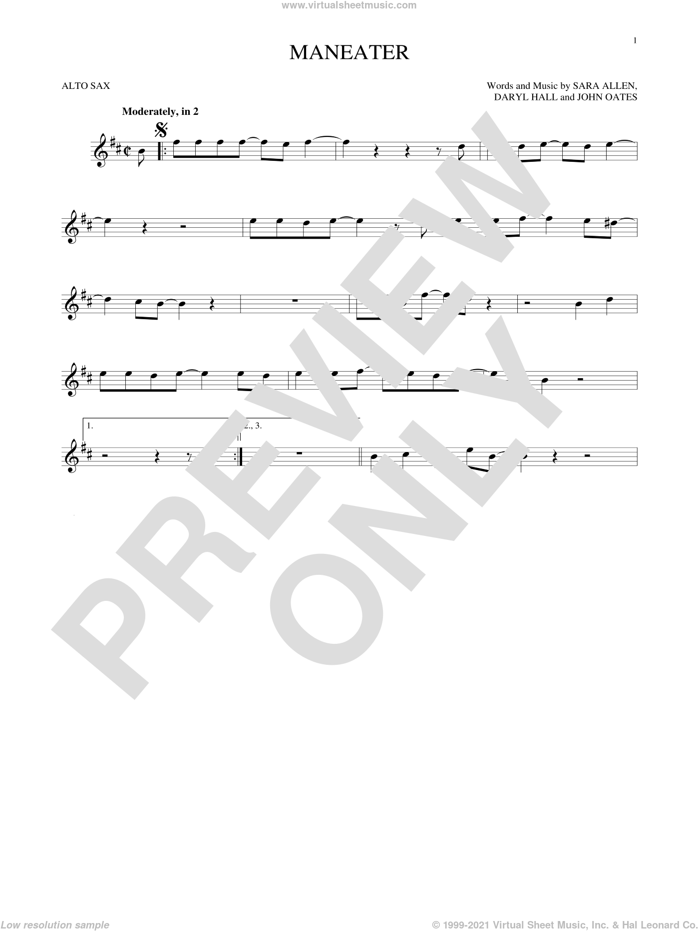Maneater sheet music for alto saxophone solo ( Sax) by Daryl Hall, Hall and Oates and John Oates. Score Image Preview.