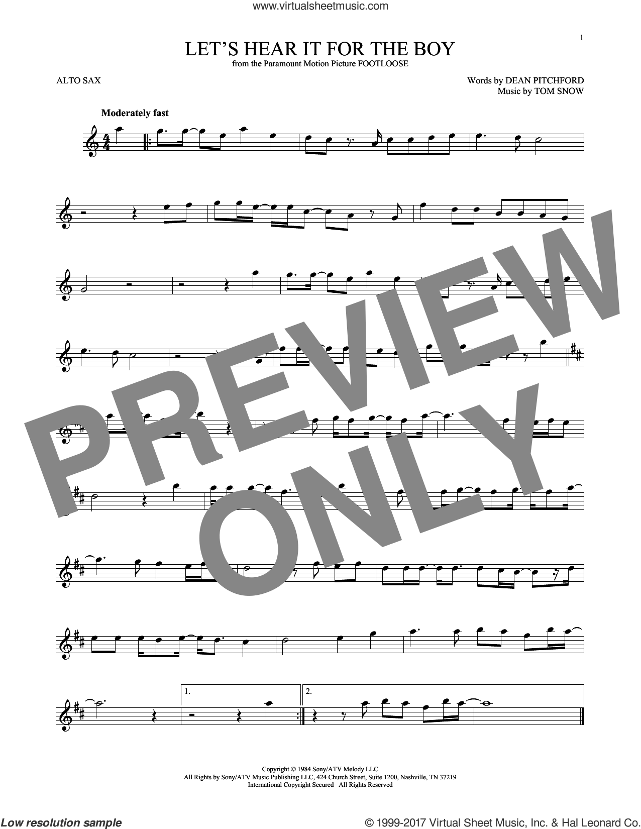 Let's Hear It For The Boy sheet music for alto saxophone solo ( Sax) by Tom Snow and Dean Pitchford. Score Image Preview.