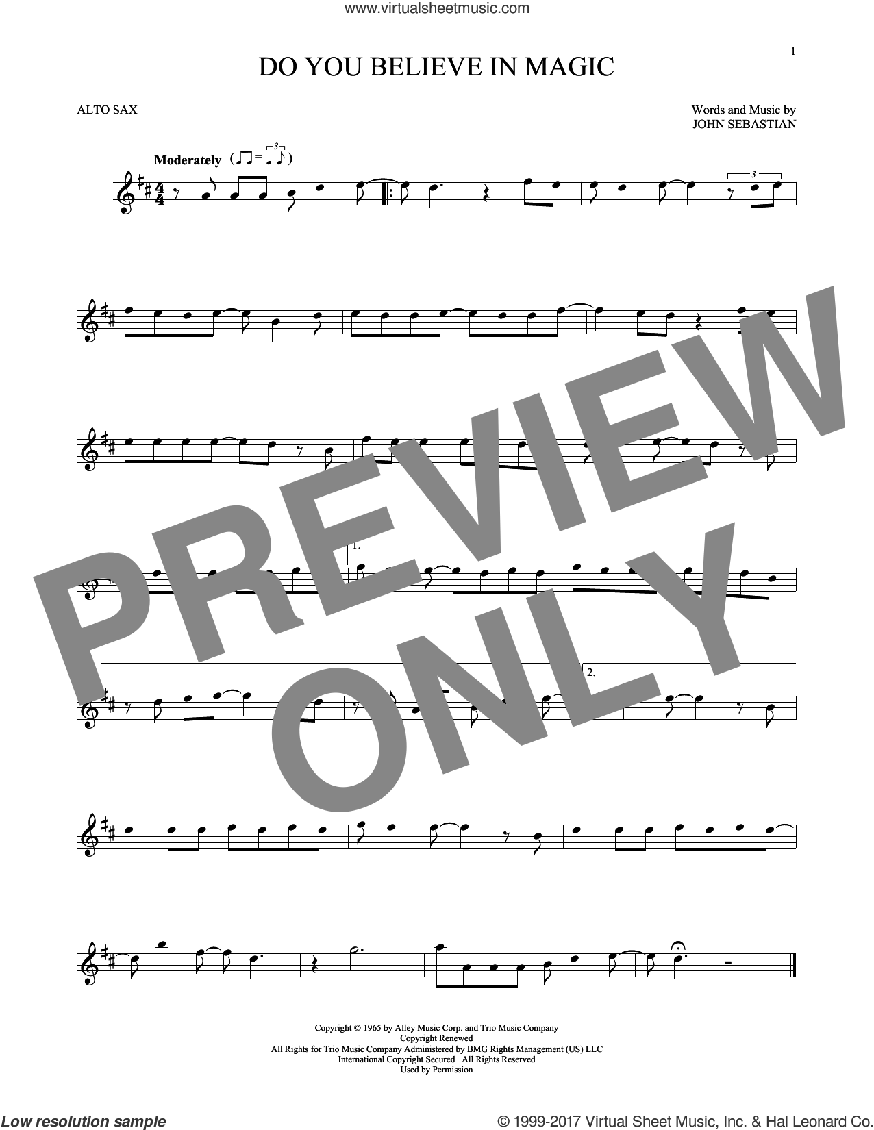 Do You Believe In Magic sheet music for alto saxophone solo by Lovin' Spoonful and John Sebastian, intermediate skill level