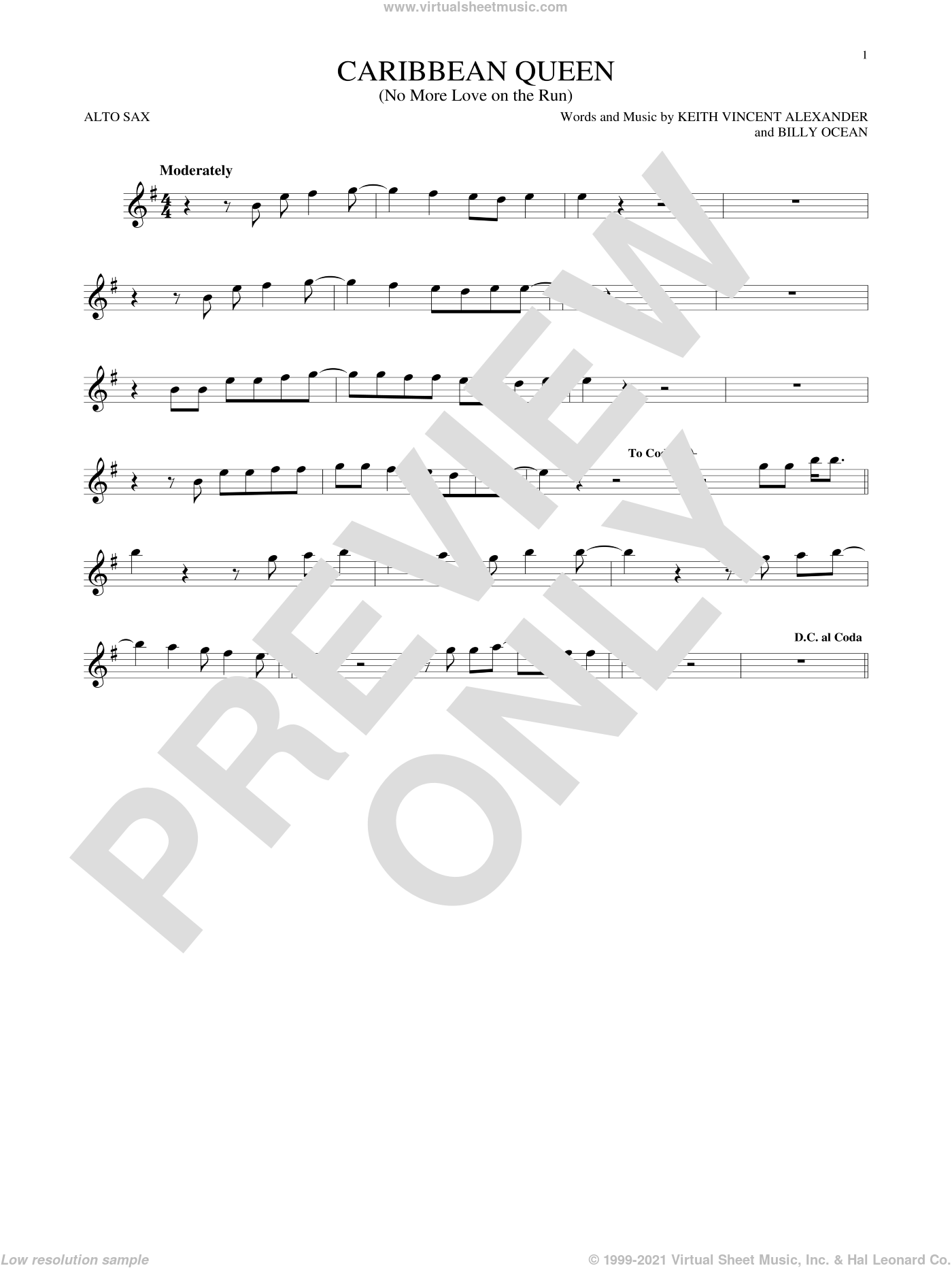 Caribbean Queen (No More Love On The Run) sheet music for alto saxophone solo by Billy Ocean and Keith Vincent Alexander, intermediate skill level