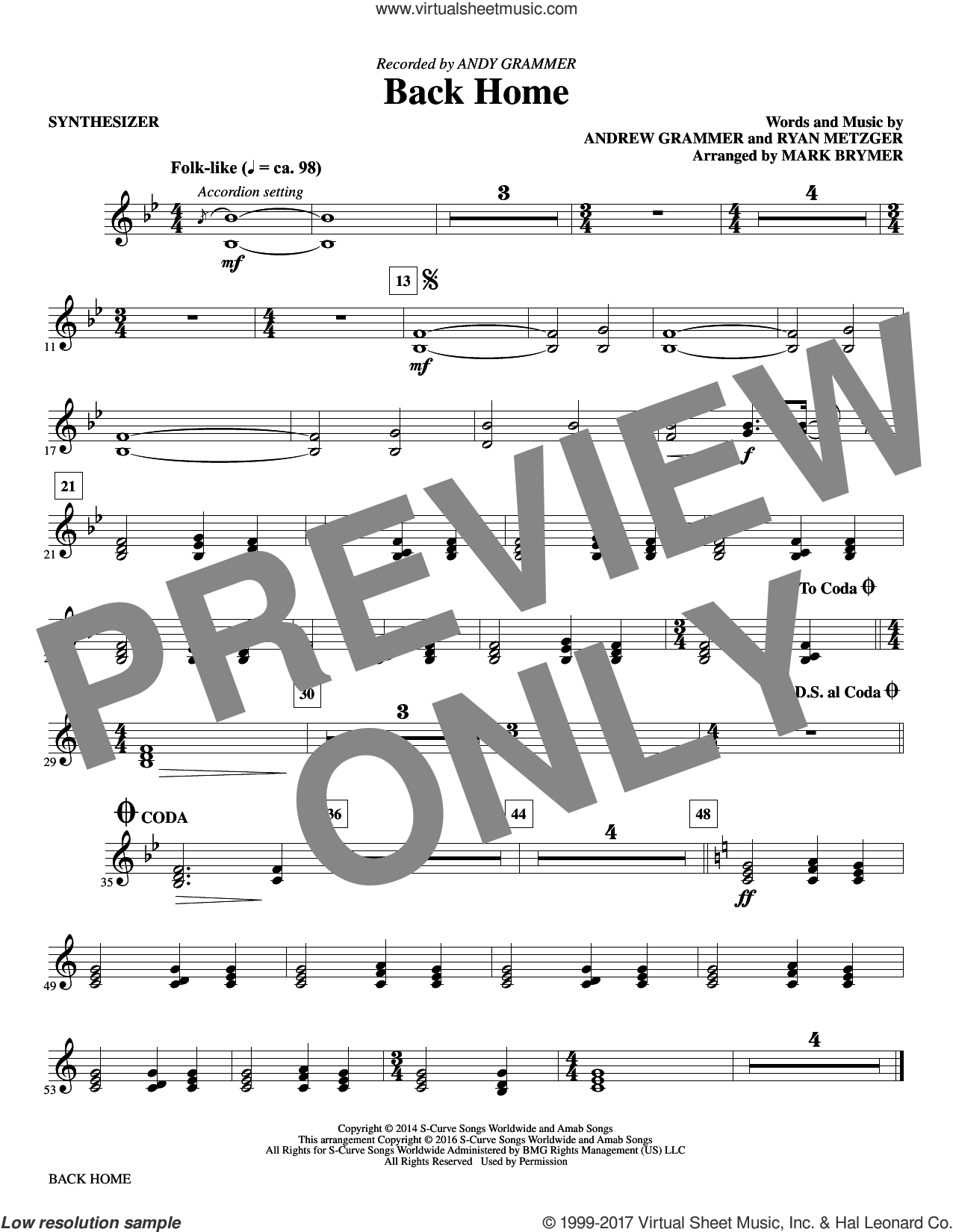 Back Home (complete set of parts) sheet music for orchestra/band by Mark Brymer and Andy Grammer, intermediate. Score Image Preview.