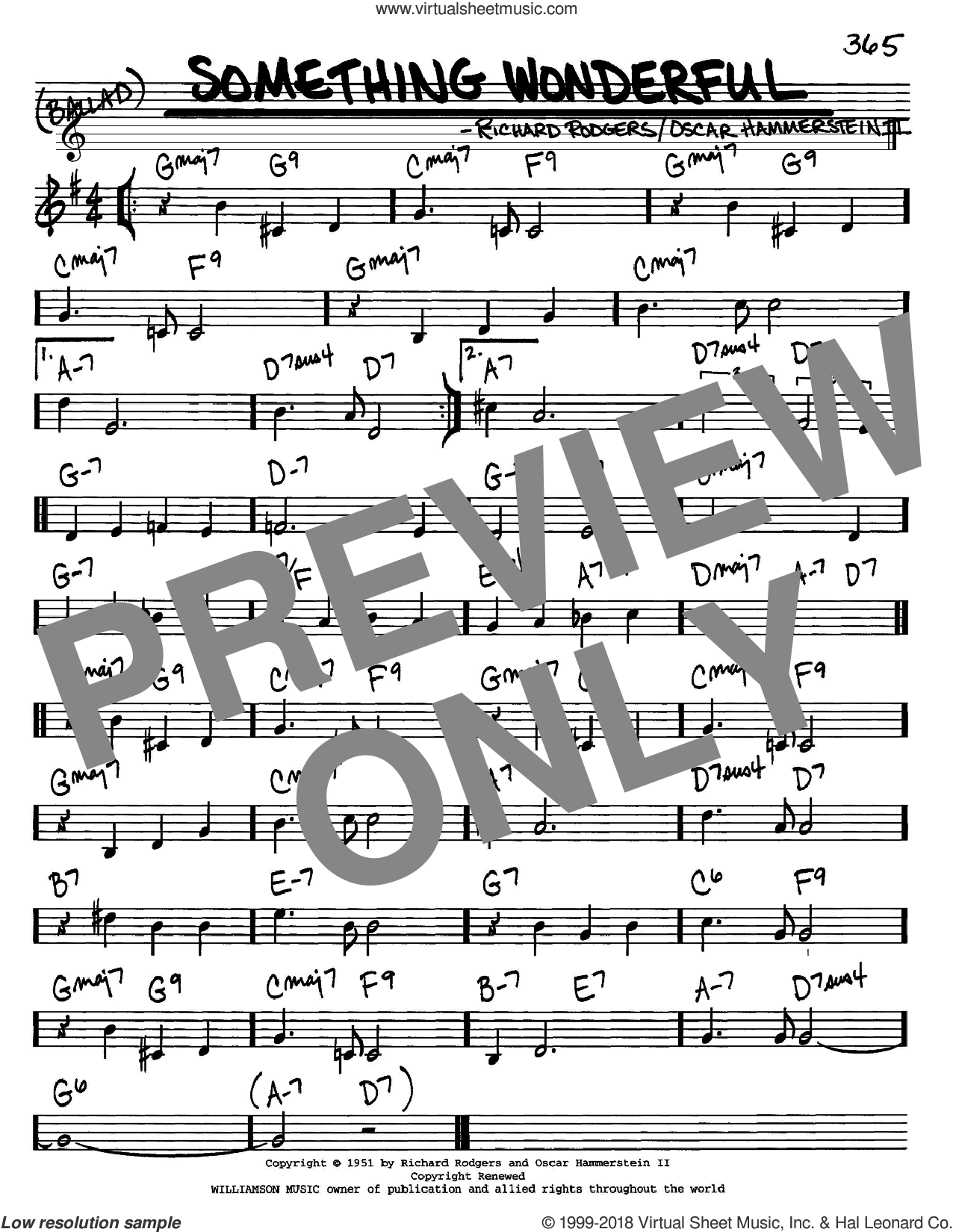 Something Wonderful sheet music for voice and other instruments (C) by Rodgers & Hammerstein, Oscar II Hammerstein and Richard Rodgers. Score Image Preview.