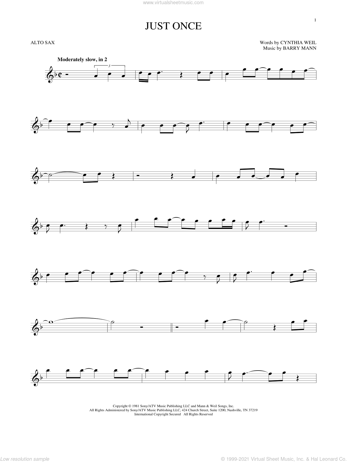 Just Once sheet music for alto saxophone solo by Quincy Jones featuring James Ingram, Barry Mann and Cynthia Weil, intermediate skill level