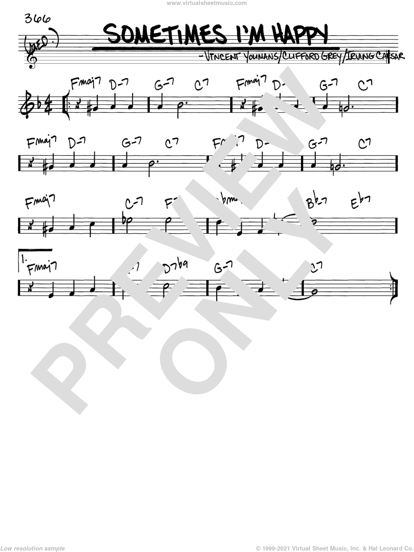 Sometimes I'm Happy sheet music for voice and other instruments (C) by Vincent Youmans, Clifford Grey and Irving Caesar. Score Image Preview.