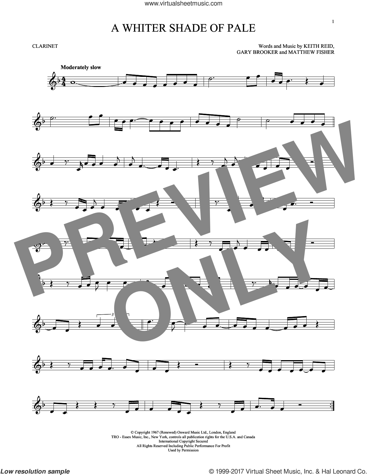 A Whiter Shade Of Pale sheet music for clarinet solo by Procol Harum, Gary Brooker, Keith Reid and Matthew Fisher, intermediate skill level