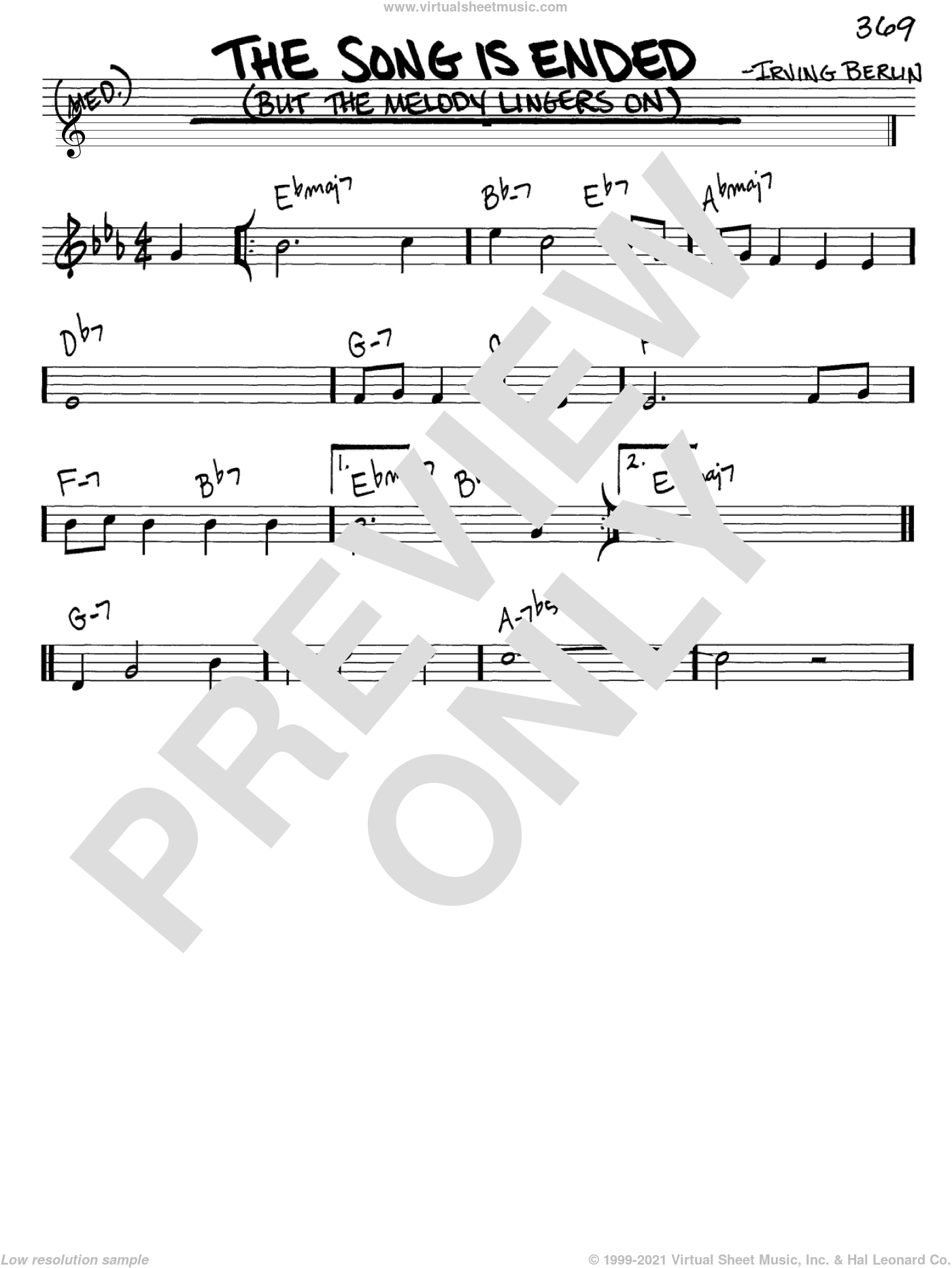 The Song Is Ended (But The Melody Lingers On) sheet music for voice and other instruments (in C) by Irving Berlin, intermediate skill level