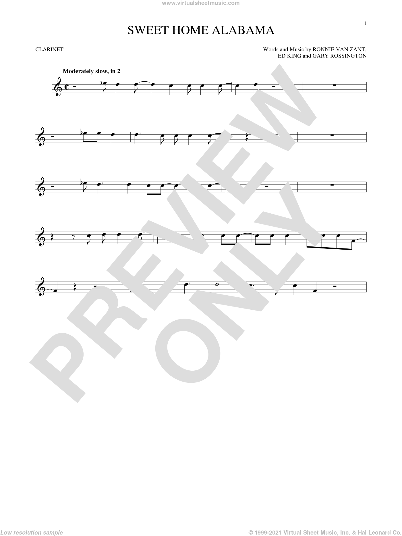 Sweet Home Alabama sheet music for clarinet solo by Lynyrd Skynyrd, Alabama, Edward King, Gary Rossington and Ronnie Van Zant, intermediate skill level