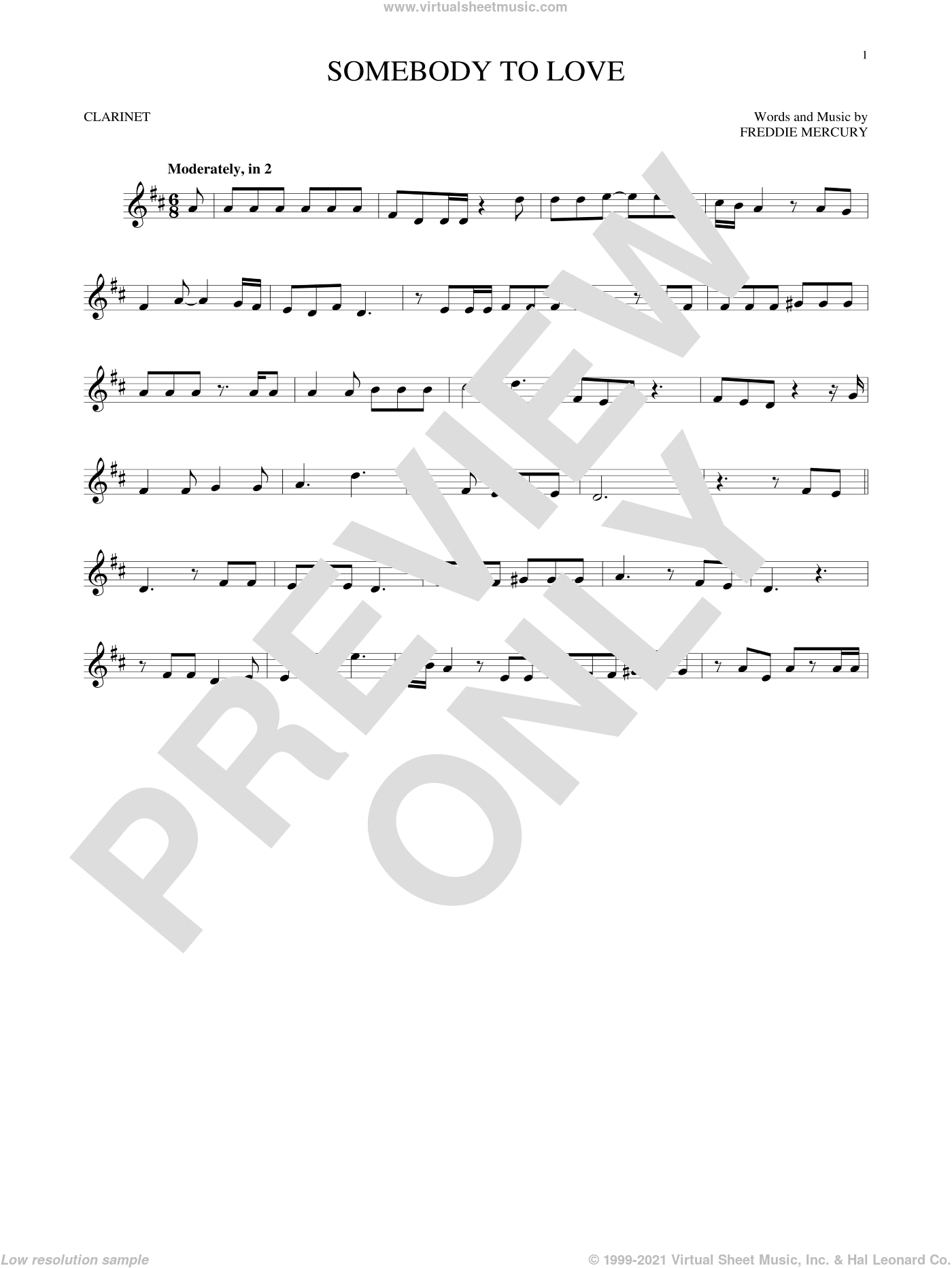 Somebody To Love sheet music for clarinet solo by Queen and Freddie Mercury, intermediate. Score Image Preview.