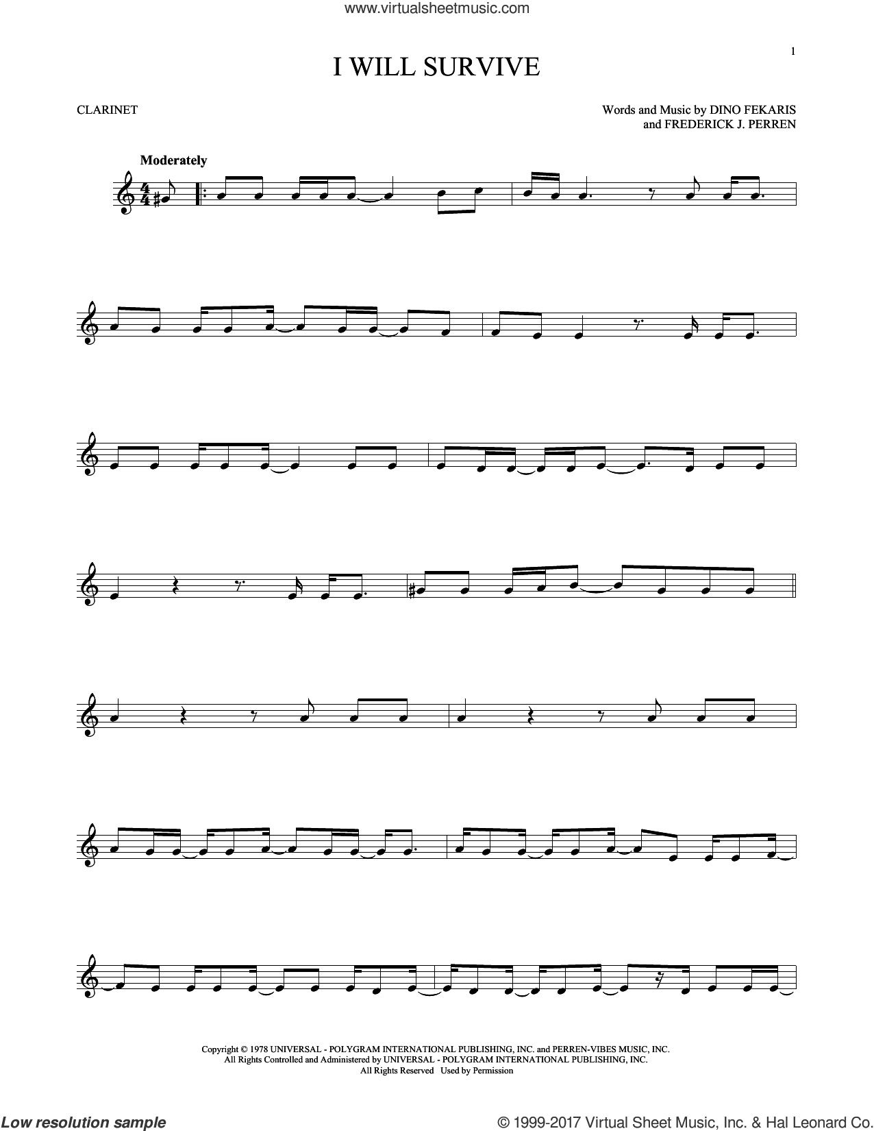 I Will Survive sheet music for clarinet solo by Gloria Gaynor, Chantay Savage, Dino Fekaris and Frederick Perren, intermediate skill level