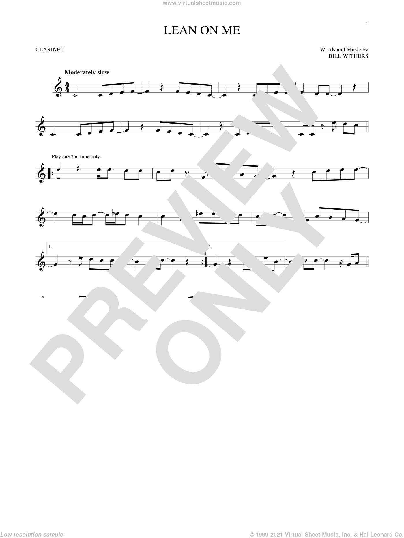 Lean On Me sheet music for clarinet solo by Bill Withers, intermediate skill level