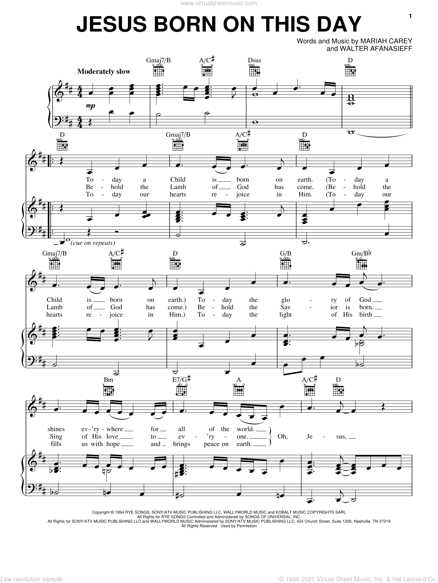 Jesus Born On This Day sheet music for voice, piano or guitar by Mariah Carey and Walter Afanasieff, intermediate skill level