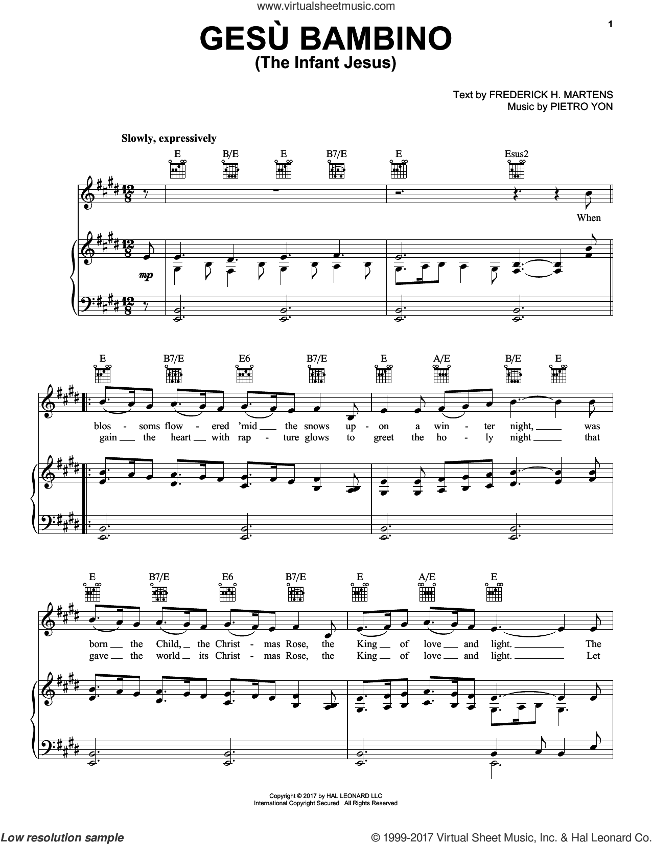 Gesu Bambino (The Infant Jesus) sheet music for voice, piano or guitar by Frederick H. Martens and Pietro Yon, intermediate. Score Image Preview.