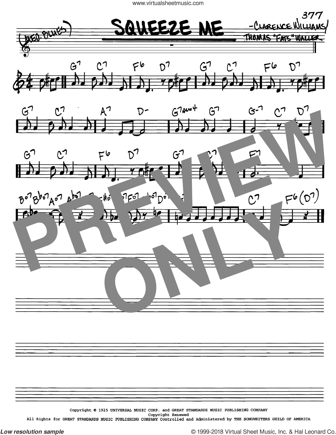 Squeeze Me sheet music for voice and other instruments (in C) by Thomas Waller and Clarence Williams, intermediate skill level