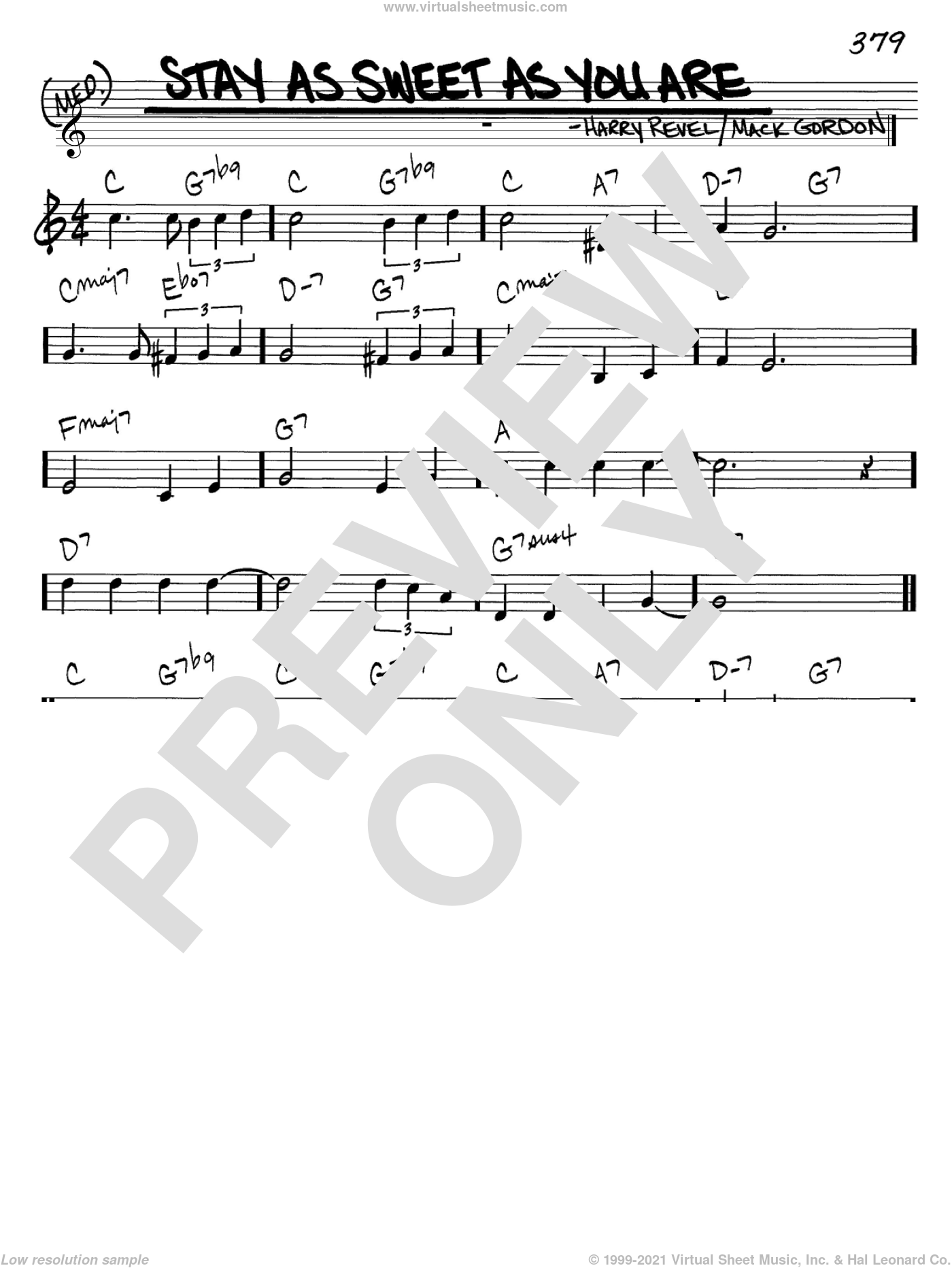 Stay As Sweet As You Are sheet music for voice and other instruments (C) by Harry Revel and Mack Gordon. Score Image Preview.