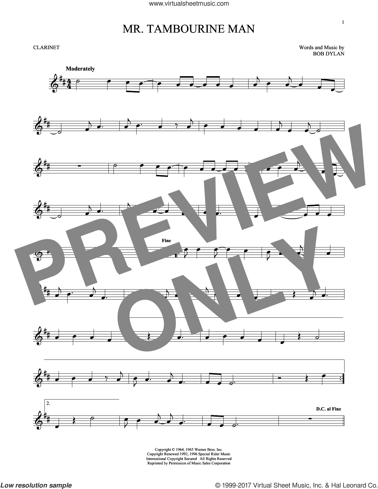 Mr. Tambourine Man sheet music for clarinet solo by Bob Dylan, intermediate skill level