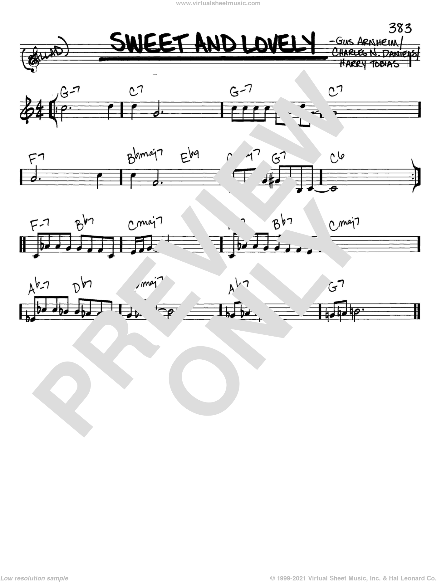 Sweet And Lovely sheet music for voice and other instruments (C) by Gus Arnheim, Dizzy Gillespie and Harry Tobias, intermediate voice. Score Image Preview.
