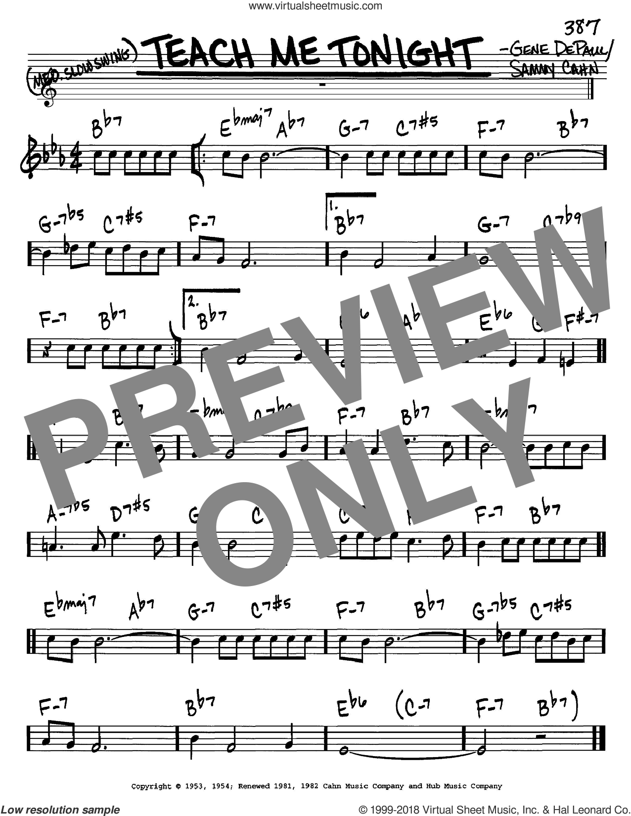 Teach Me Tonight sheet music for voice and other instruments (C) by Gene DePaul and Sammy Cahn. Score Image Preview.