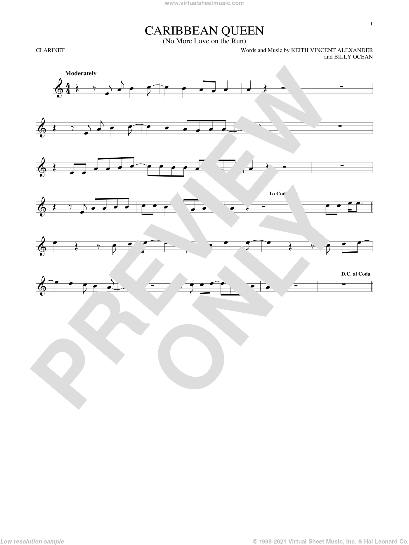 Caribbean Queen (No More Love On The Run) sheet music for clarinet solo by Billy Ocean, intermediate. Score Image Preview.