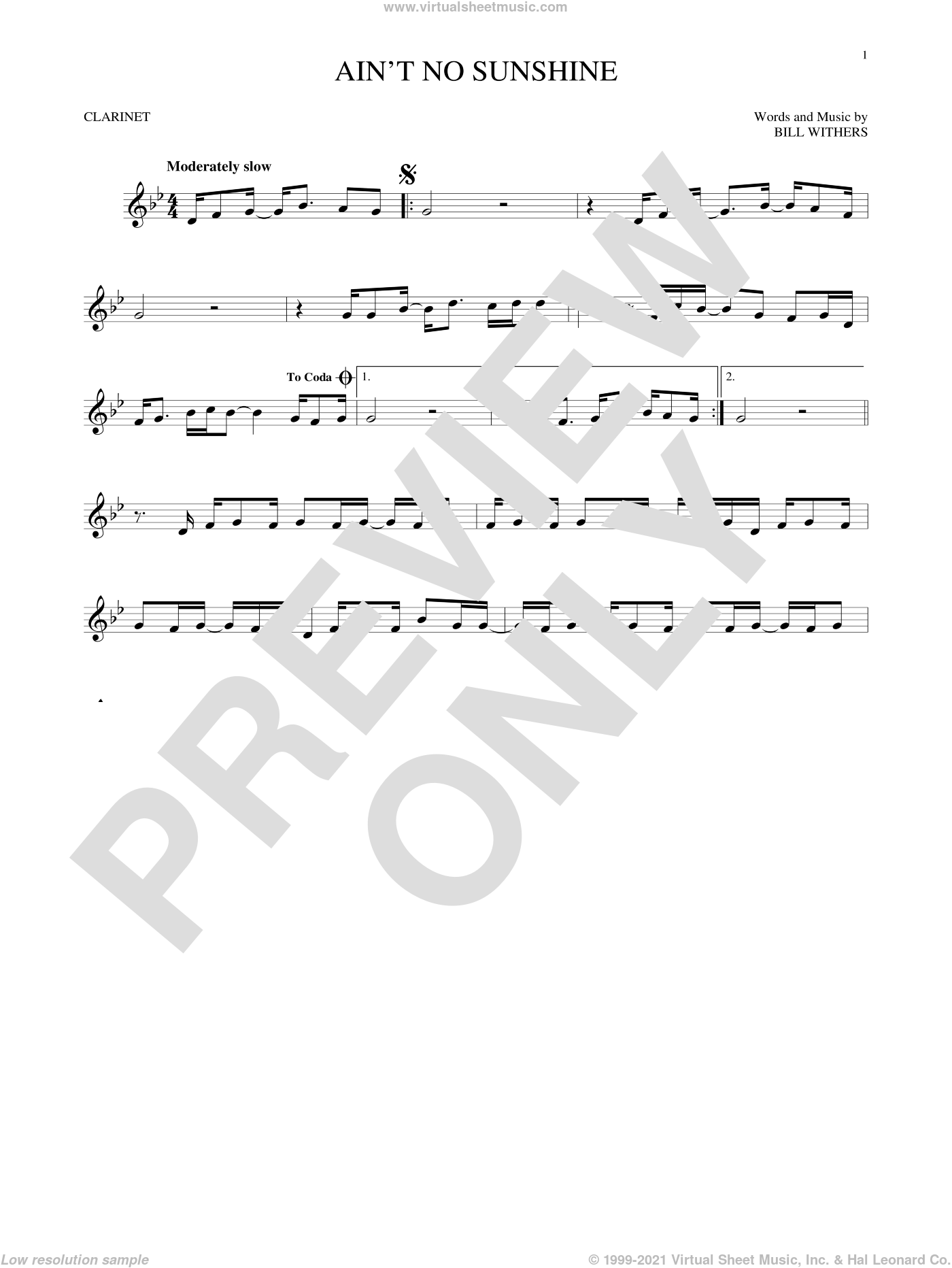 Ain't No Sunshine sheet music for clarinet solo by Bill Withers, intermediate skill level