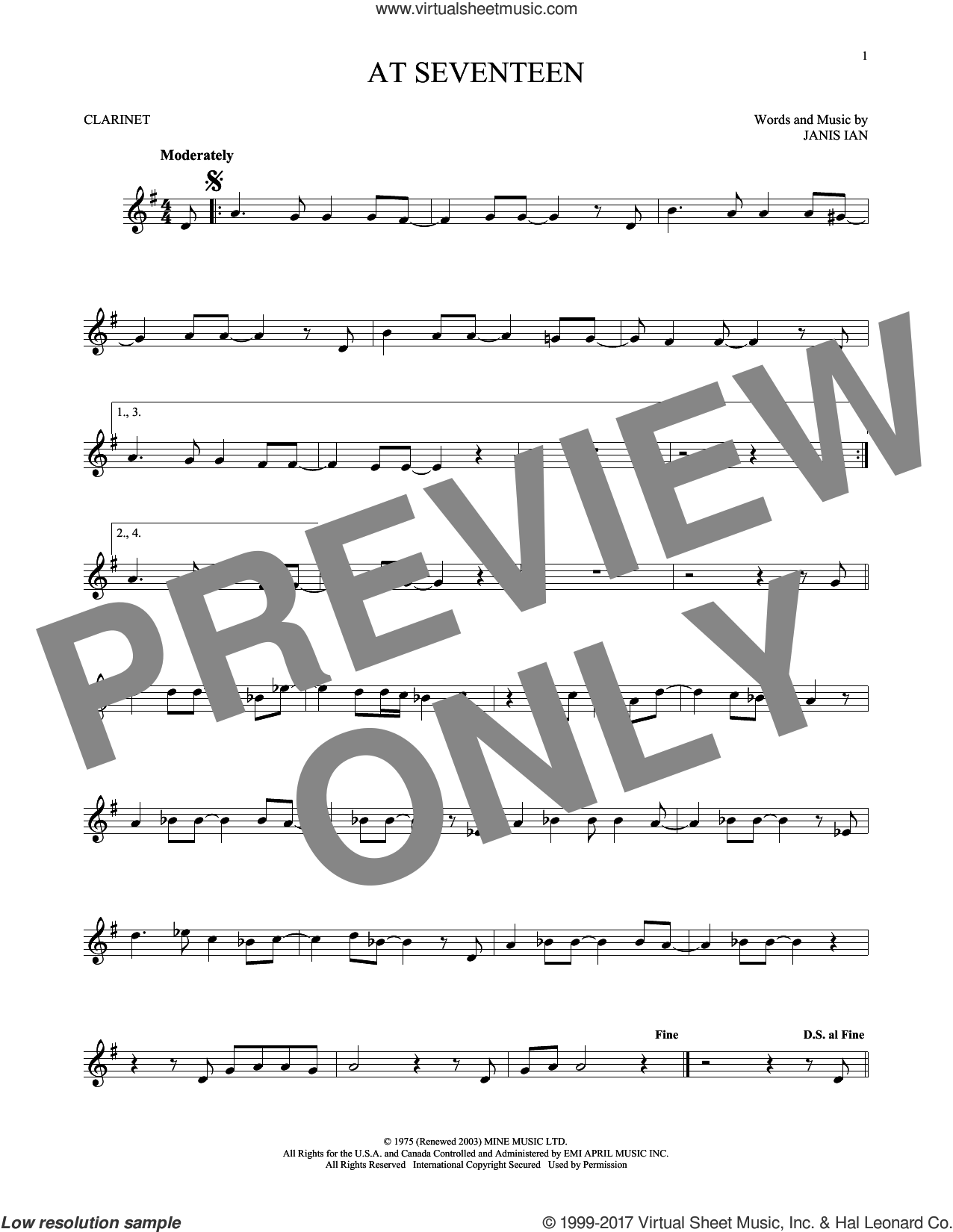 At Seventeen sheet music for clarinet solo by Janis Ian, intermediate skill level