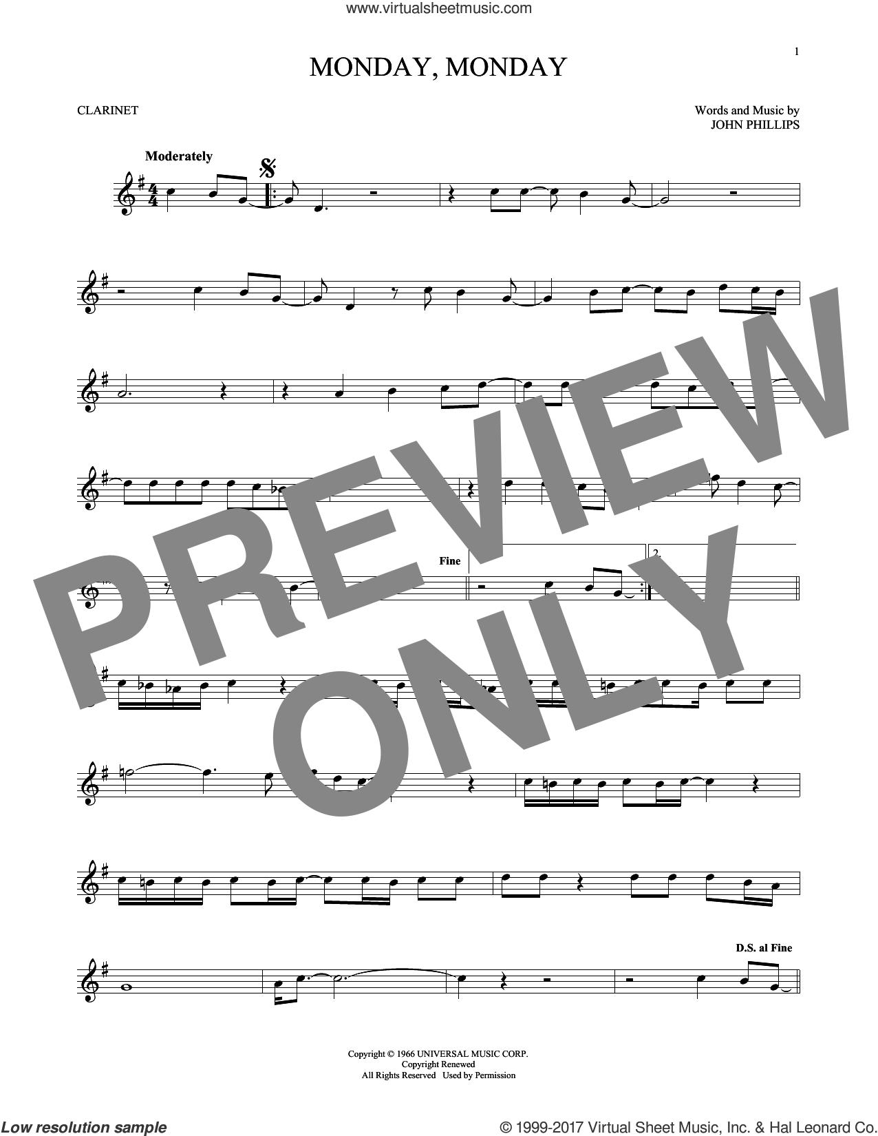 Monday, Monday sheet music for clarinet solo by The Mamas & The Papas and John Phillips, intermediate skill level