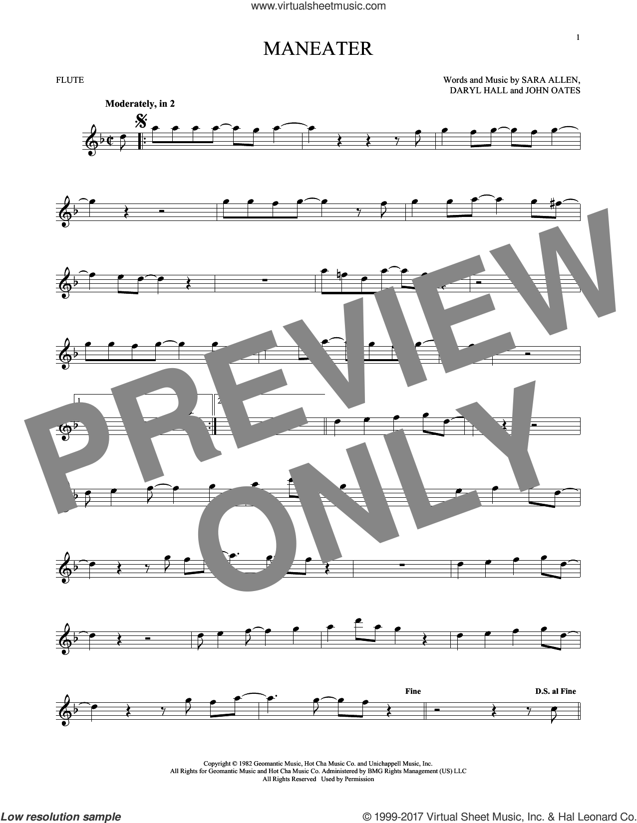 Maneater sheet music for flute solo by Daryl Hall, Hall and Oates, John Oates and Sara Allen, intermediate skill level
