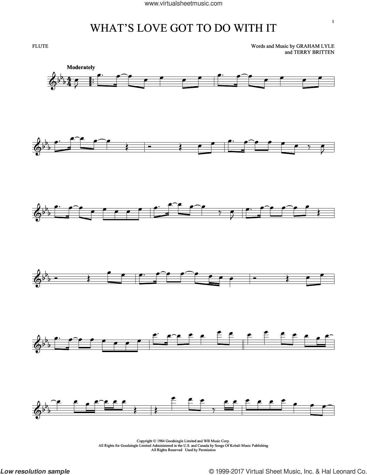 What's Love Got To Do With It sheet music for flute solo by Tina Turner, Graham Lyle and Terry Britten, intermediate skill level