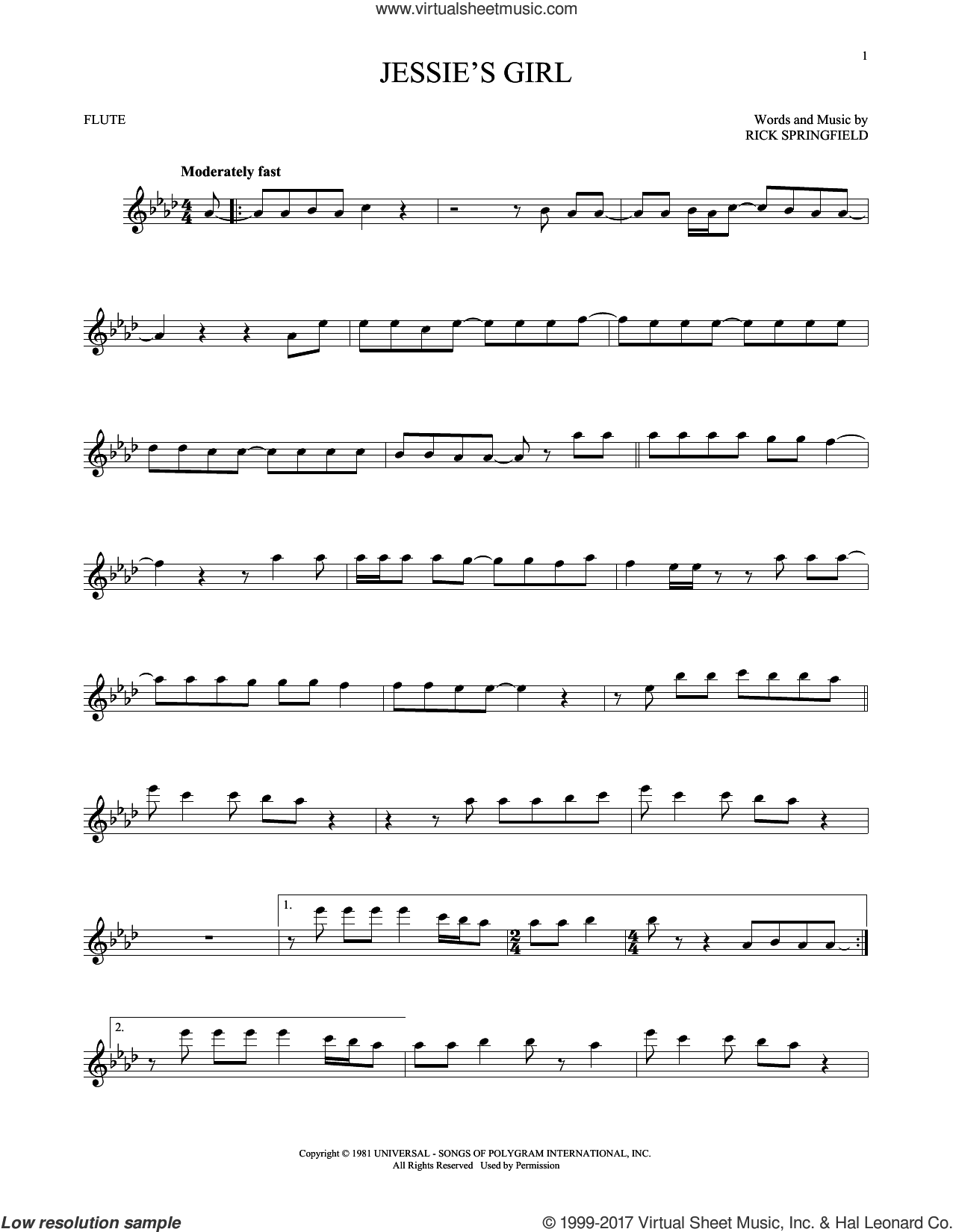 Jessie's Girl sheet music for flute solo by Rick Springfield, intermediate skill level