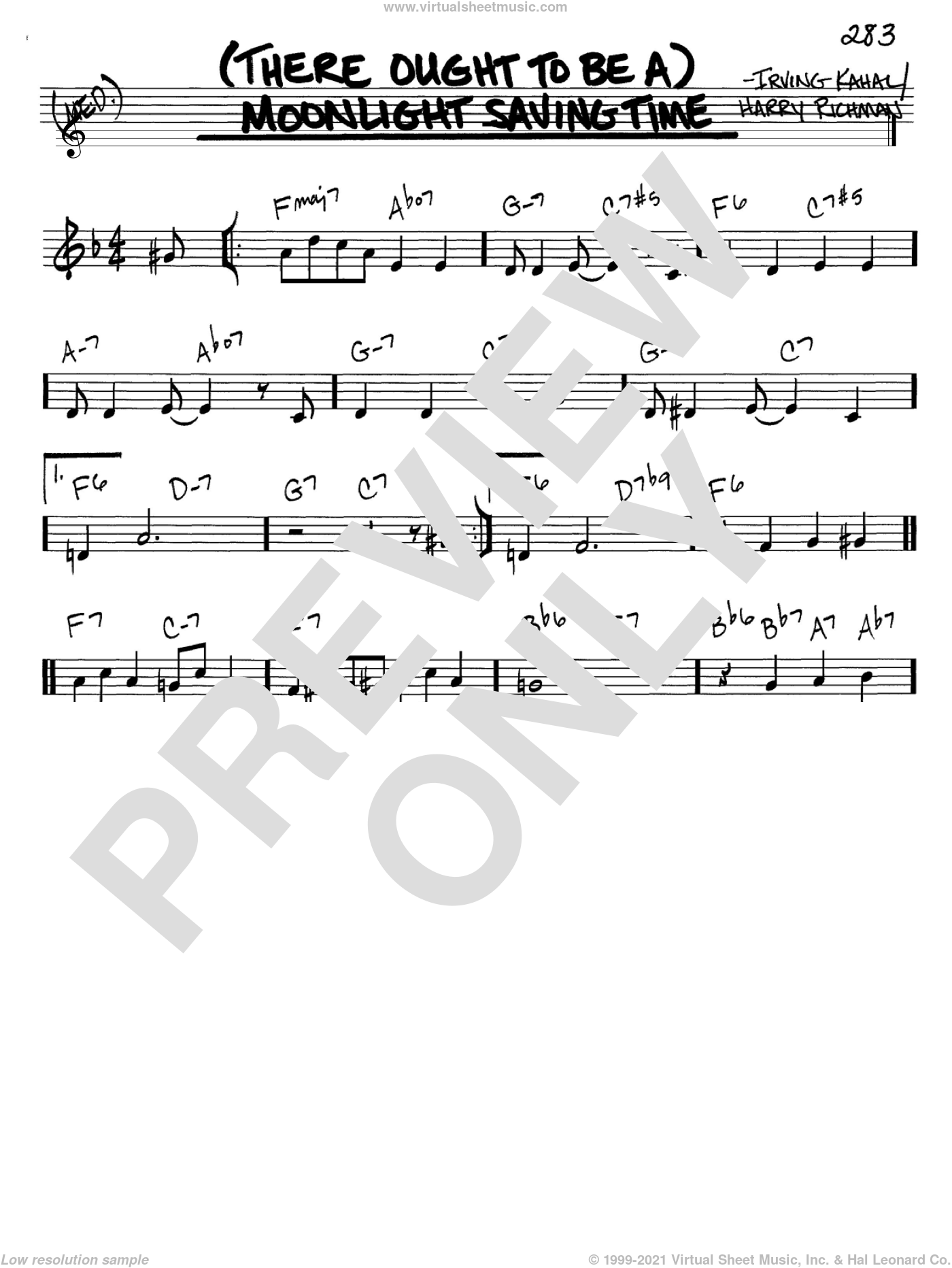 (There Ought To Be A) Moonlight Savings Time sheet music for voice and other instruments (in C) by Irving Kahal and Harry Richman, intermediate skill level