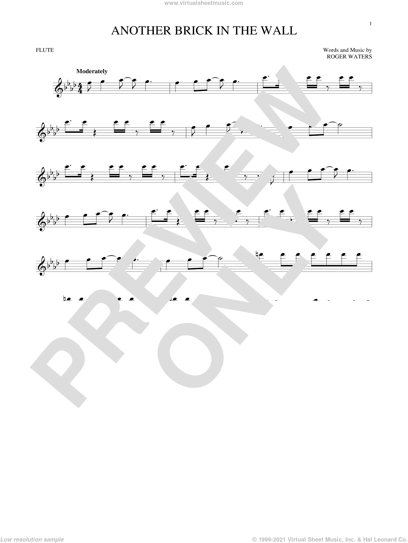 Another Brick In The Wall sheet music for flute solo by Pink Floyd and Roger Waters, intermediate flute. Score Image Preview.