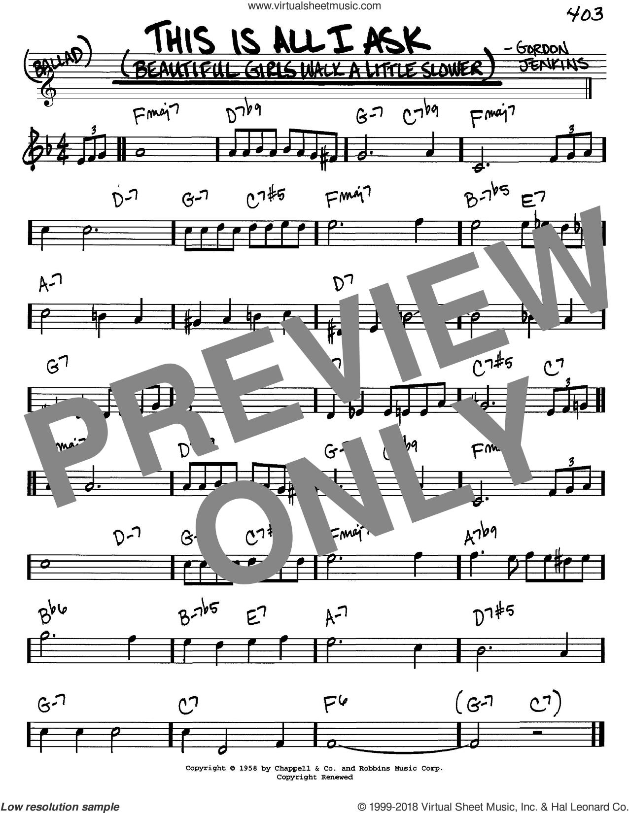This Is All I Ask (Beautiful Girls Walk A Little Slower) sheet music for voice and other instruments (C) by Gordon Jenkins. Score Image Preview.