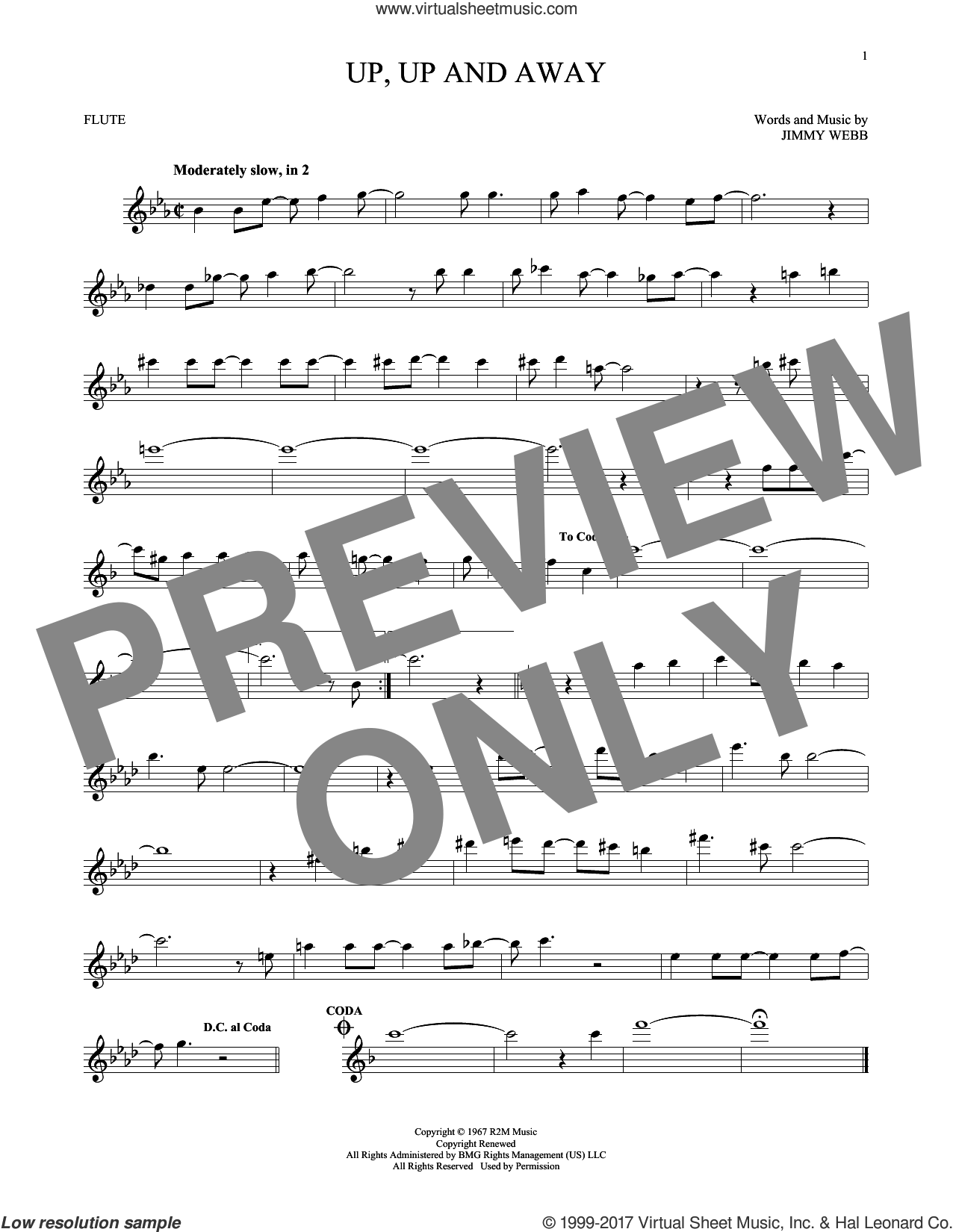 Up, Up And Away sheet music for flute solo by The Fifth Dimension and Jimmy Webb, intermediate skill level