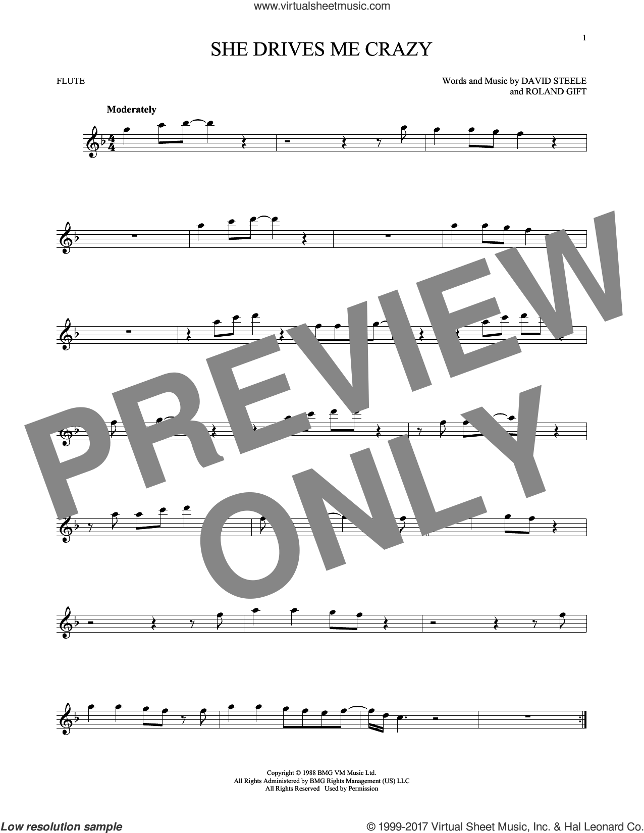 She Drives Me Crazy sheet music for flute solo by Fine Young Cannibals, David Steele and Roland Gift, intermediate skill level