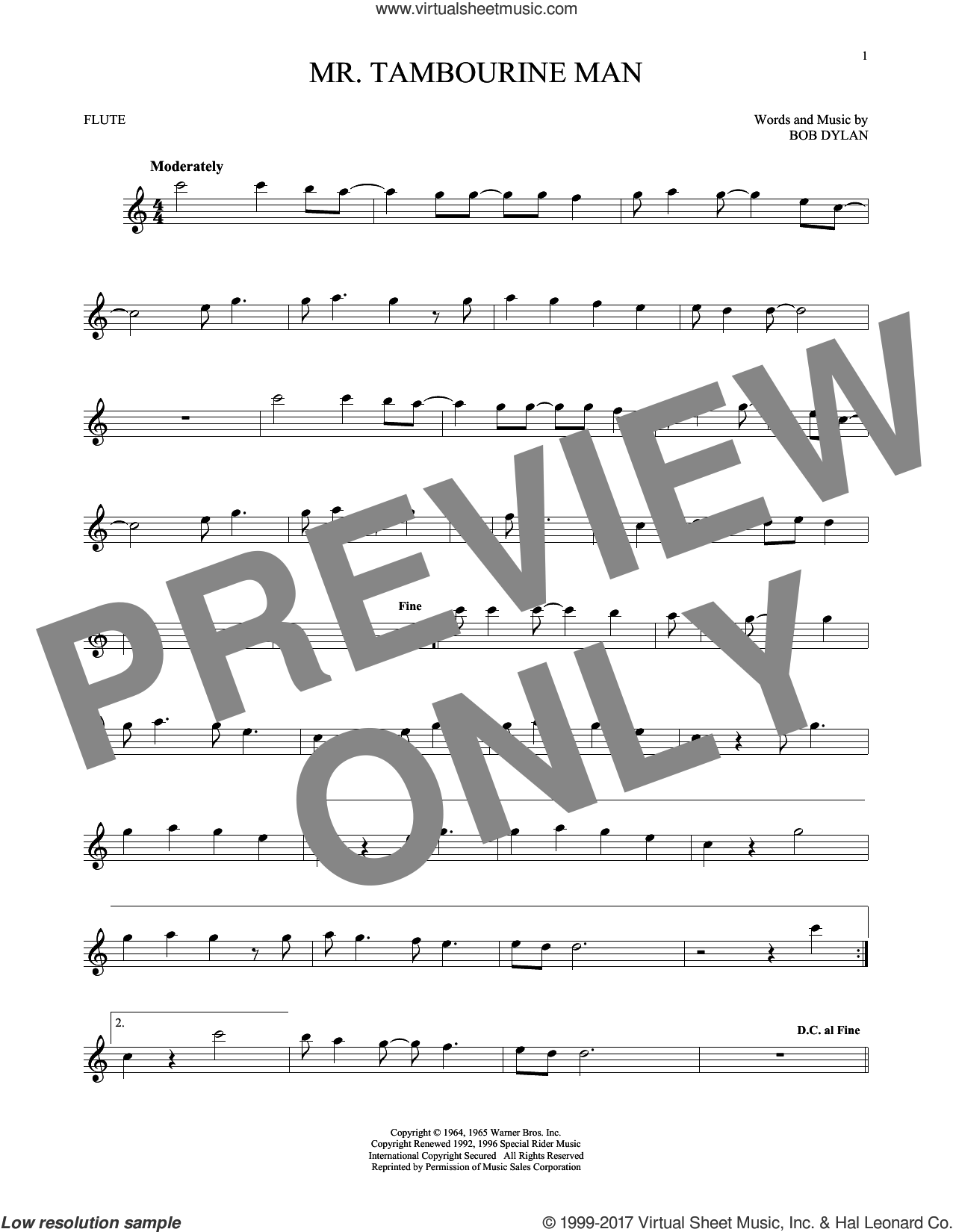 Mr. Tambourine Man sheet music for flute solo by Bob Dylan, intermediate skill level