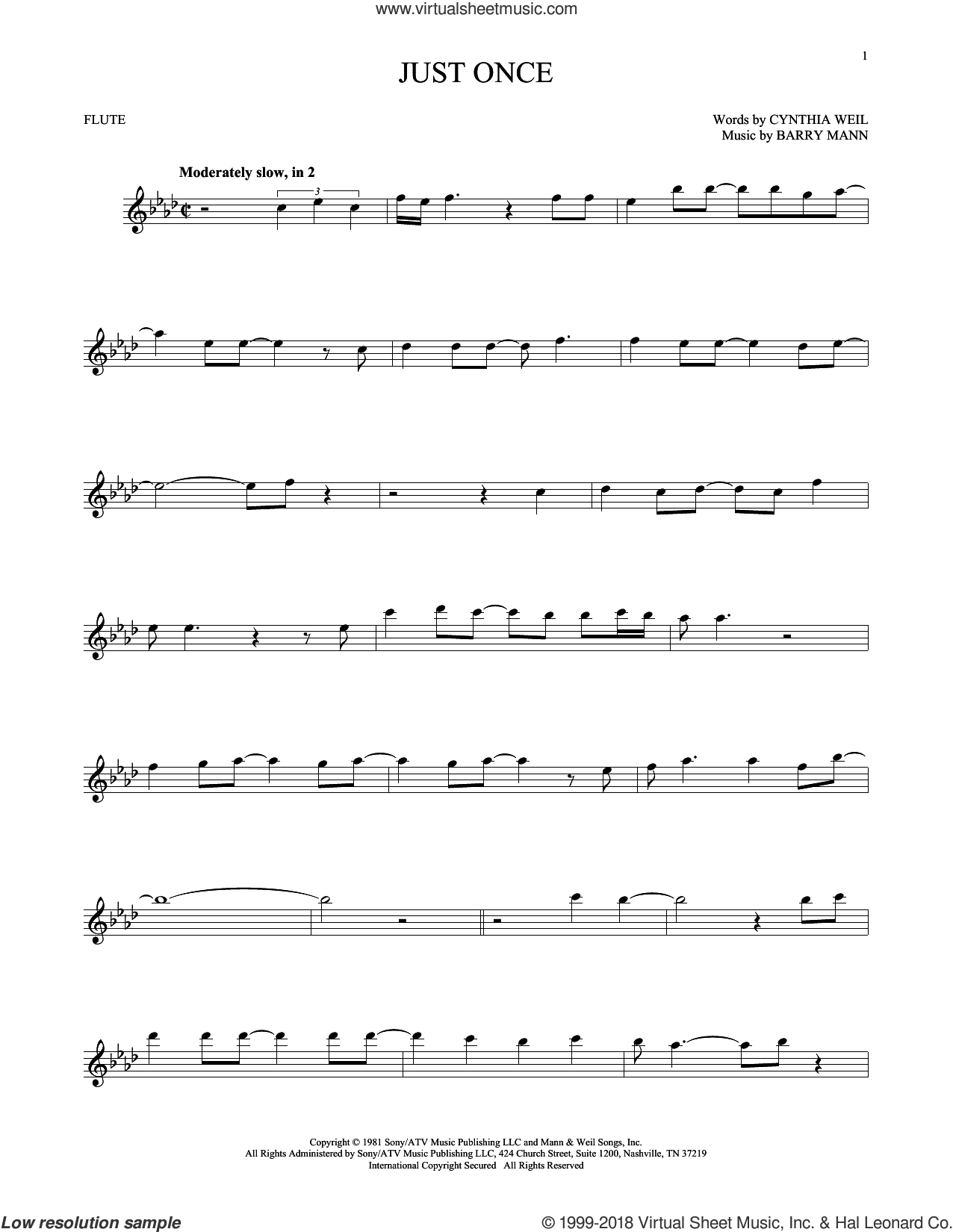 Just Once sheet music for flute solo by Quincy Jones featuring James Ingram, Barry Mann and Cynthia Weil, intermediate skill level