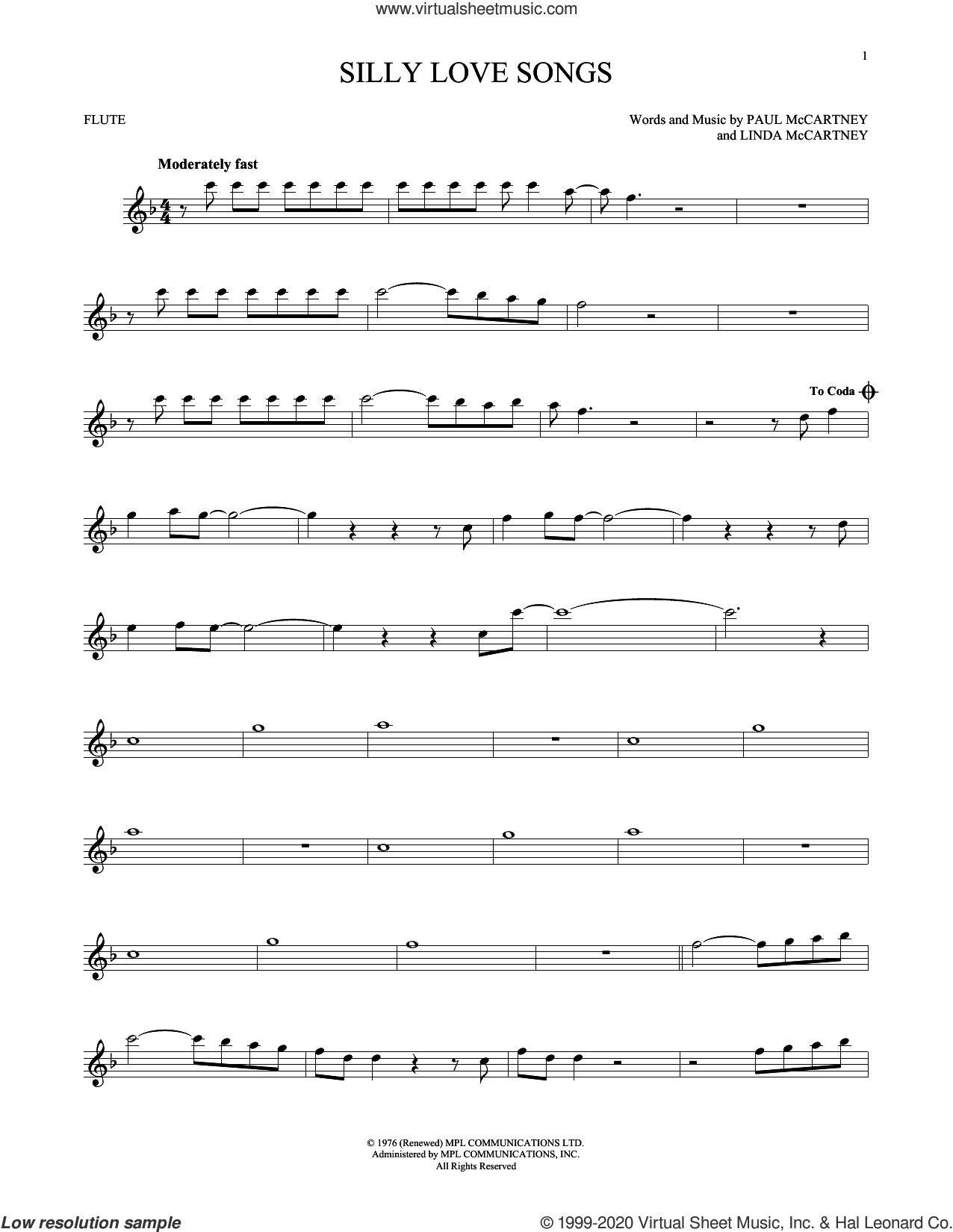 Silly Love Songs sheet music for flute solo by Wings, Linda McCartney and Paul McCartney, intermediate skill level