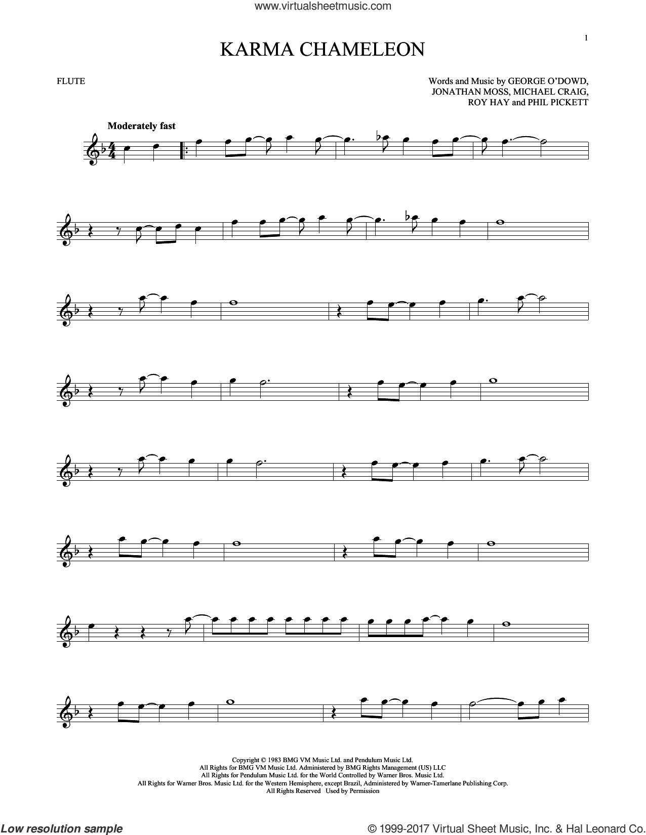 Karma Chameleon sheet music for flute solo by Culture Club, Jonathan Moss, Michael Craig, Phil Pickett and Roy Hay, intermediate skill level