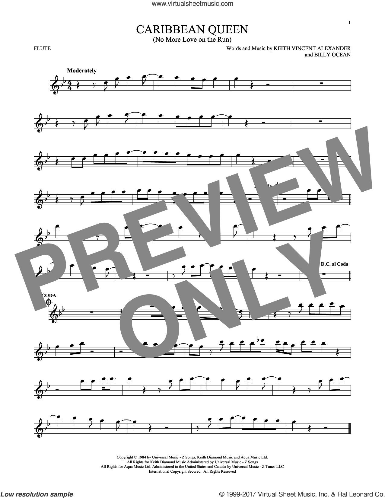 Caribbean Queen (No More Love On The Run) sheet music for flute solo by Billy Ocean. Score Image Preview.