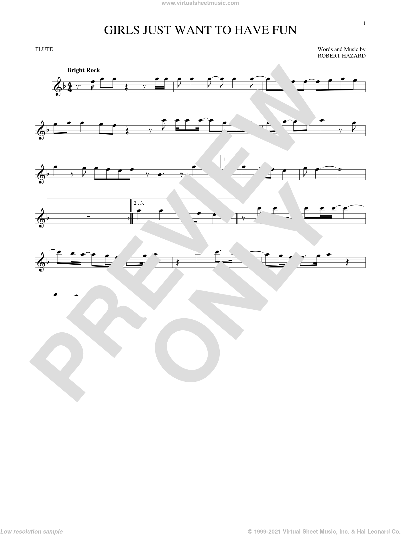 Girls Just Want To Have Fun sheet music for flute solo by Cyndi Lauper, intermediate. Score Image Preview.