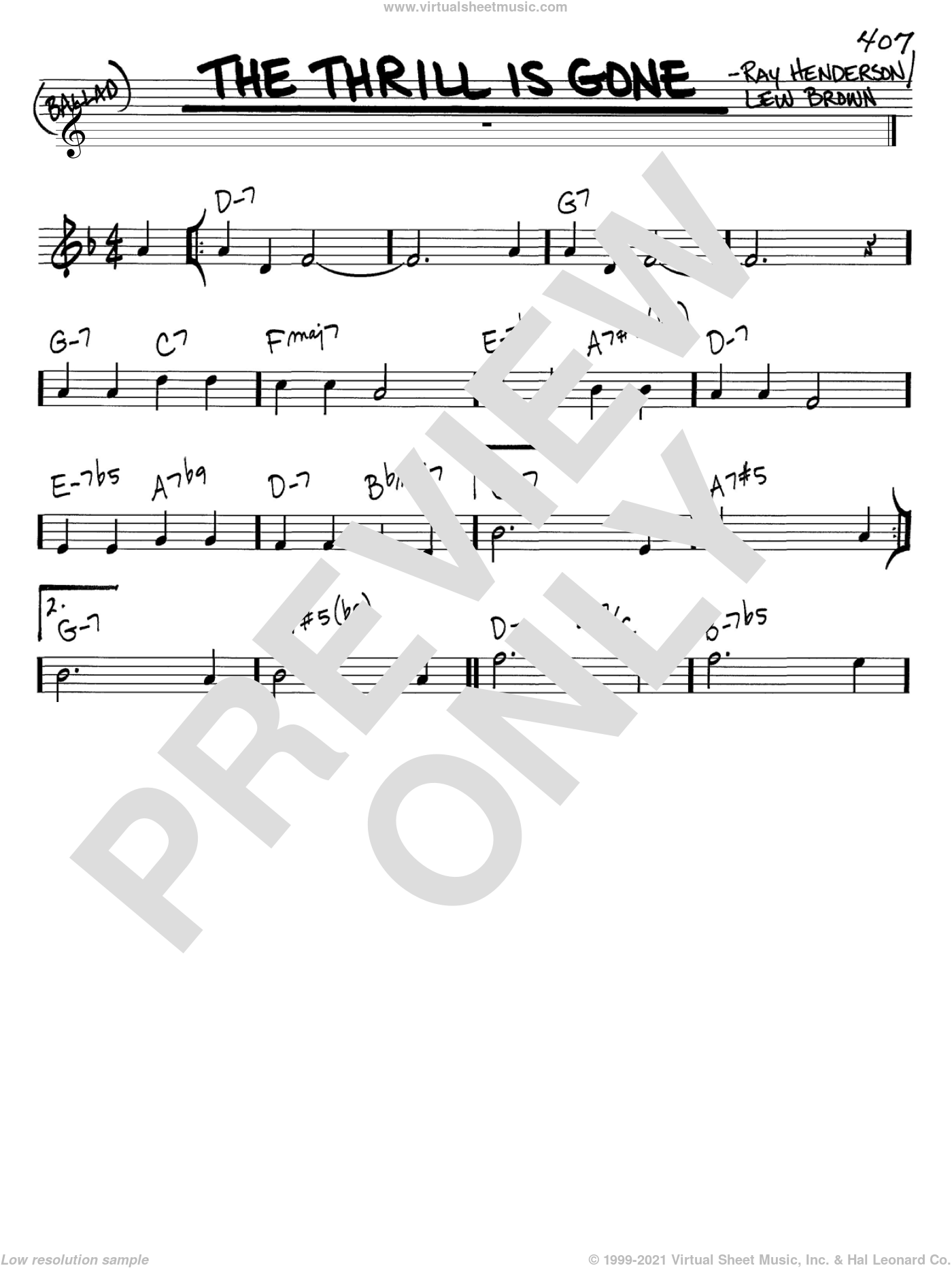 The Thrill Is Gone sheet music for voice and other instruments (in C) by Lew Brown and Ray Henderson, intermediate. Score Image Preview.