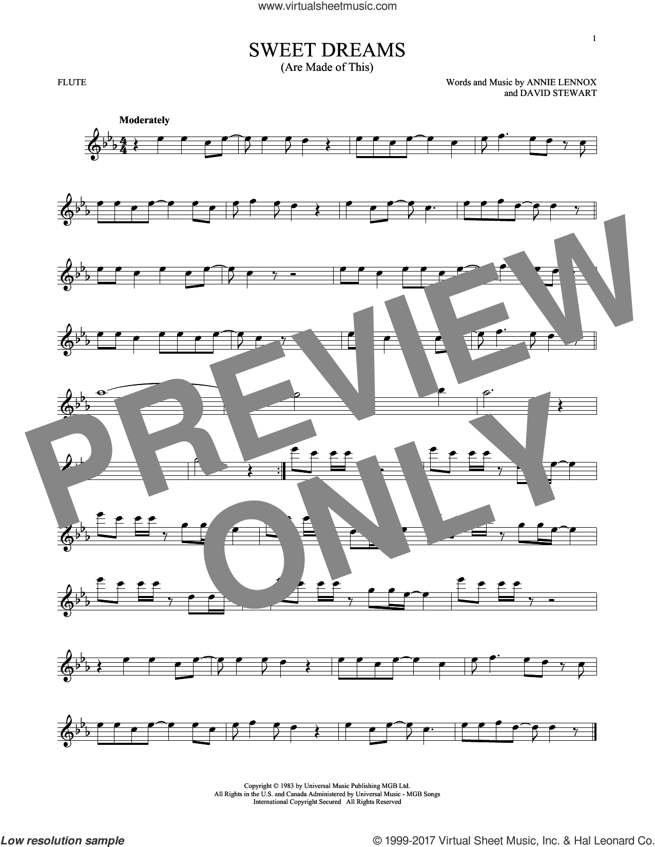 Sweet Dreams (Are Made Of This) sheet music for flute solo by Eurythmics, Annie Lennox and Dave Stewart, intermediate skill level