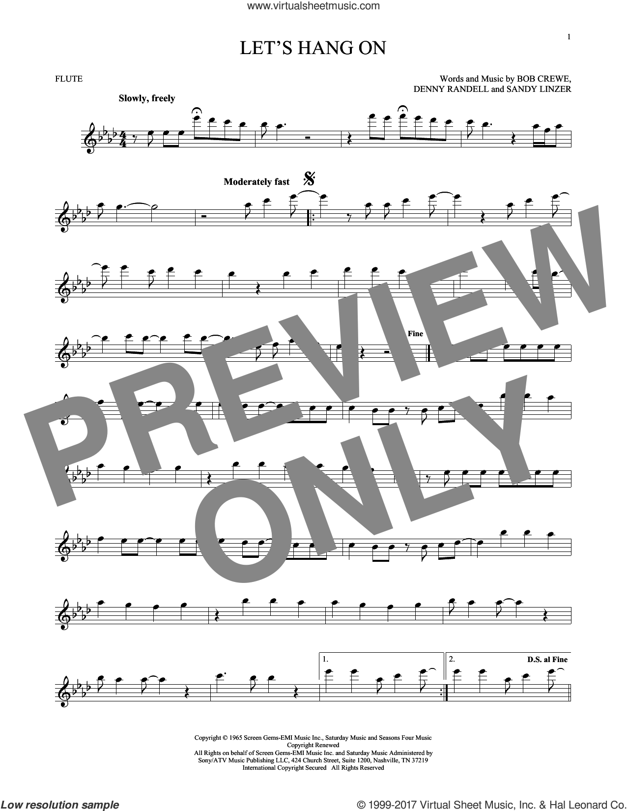 Let's Hang On sheet music for flute solo by The 4 Seasons, Bob Crewe, Denny Randell and Sandy Linzer, intermediate skill level