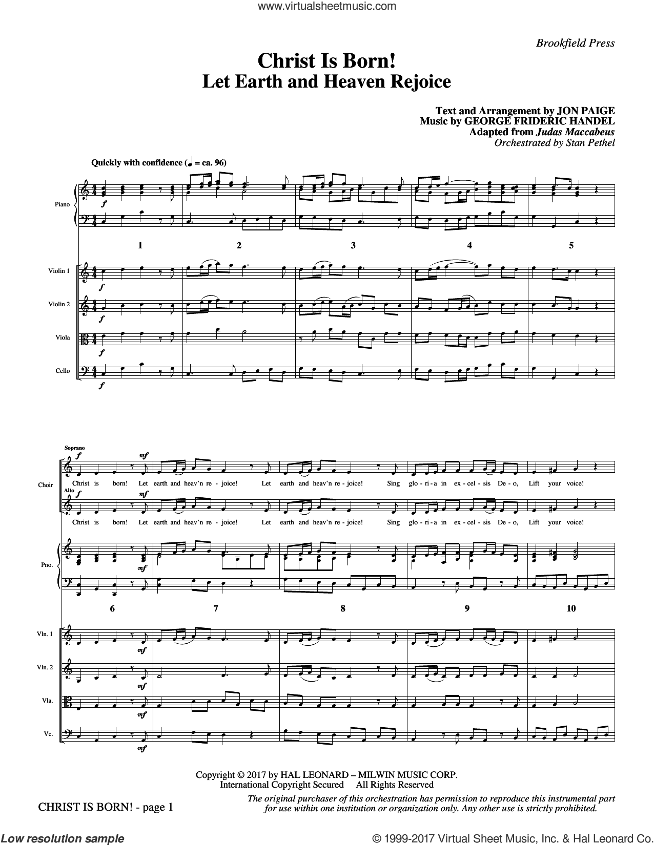 Christ Is Born! (COMPLETE) sheet music for orchestra/band by Jon Paige and George F. Handel, classical score, intermediate