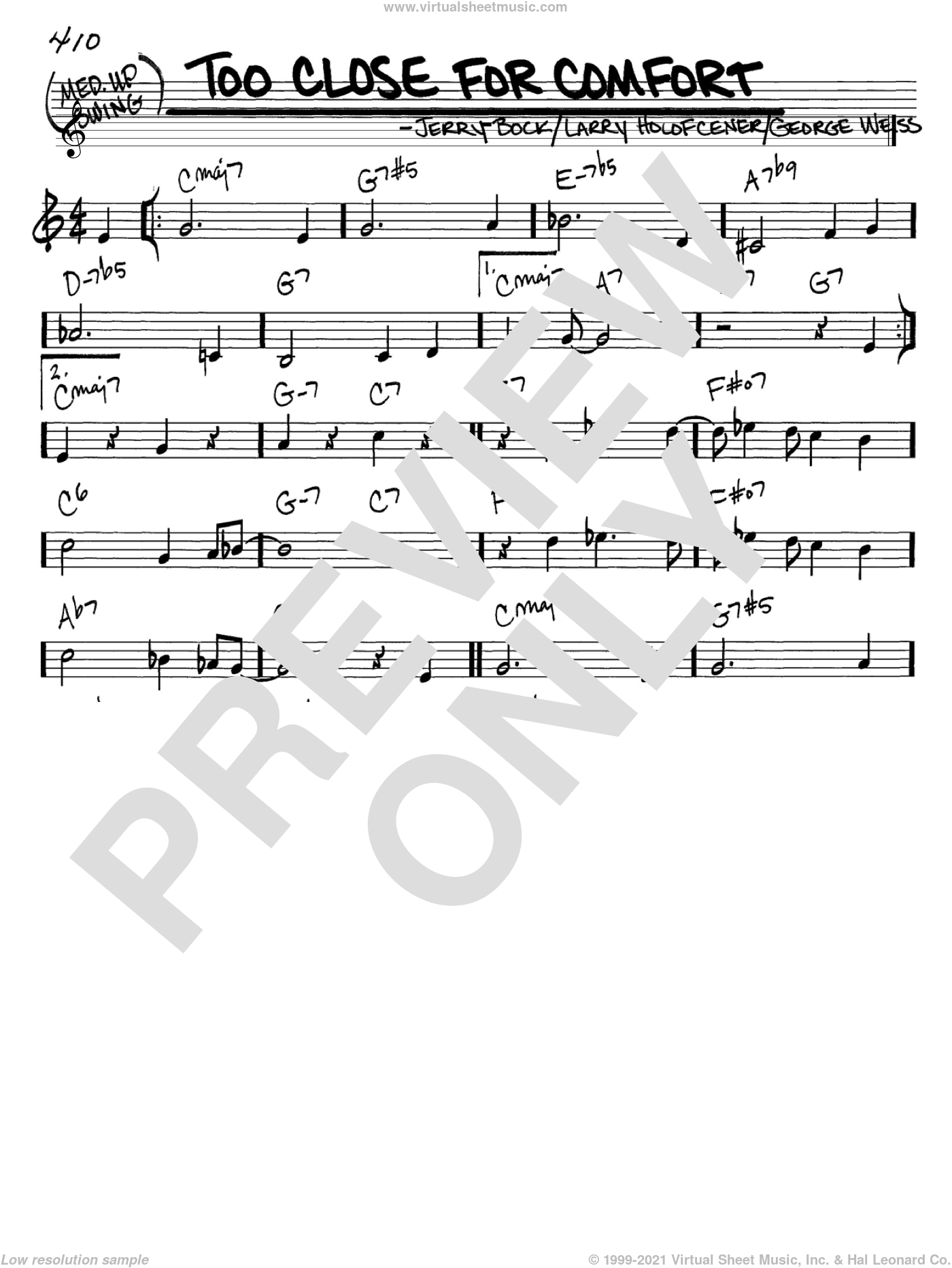 Too Close For Comfort sheet music for voice and other instruments (C) by Larry Holofcener, George David Weiss and Jerry Bock. Score Image Preview.