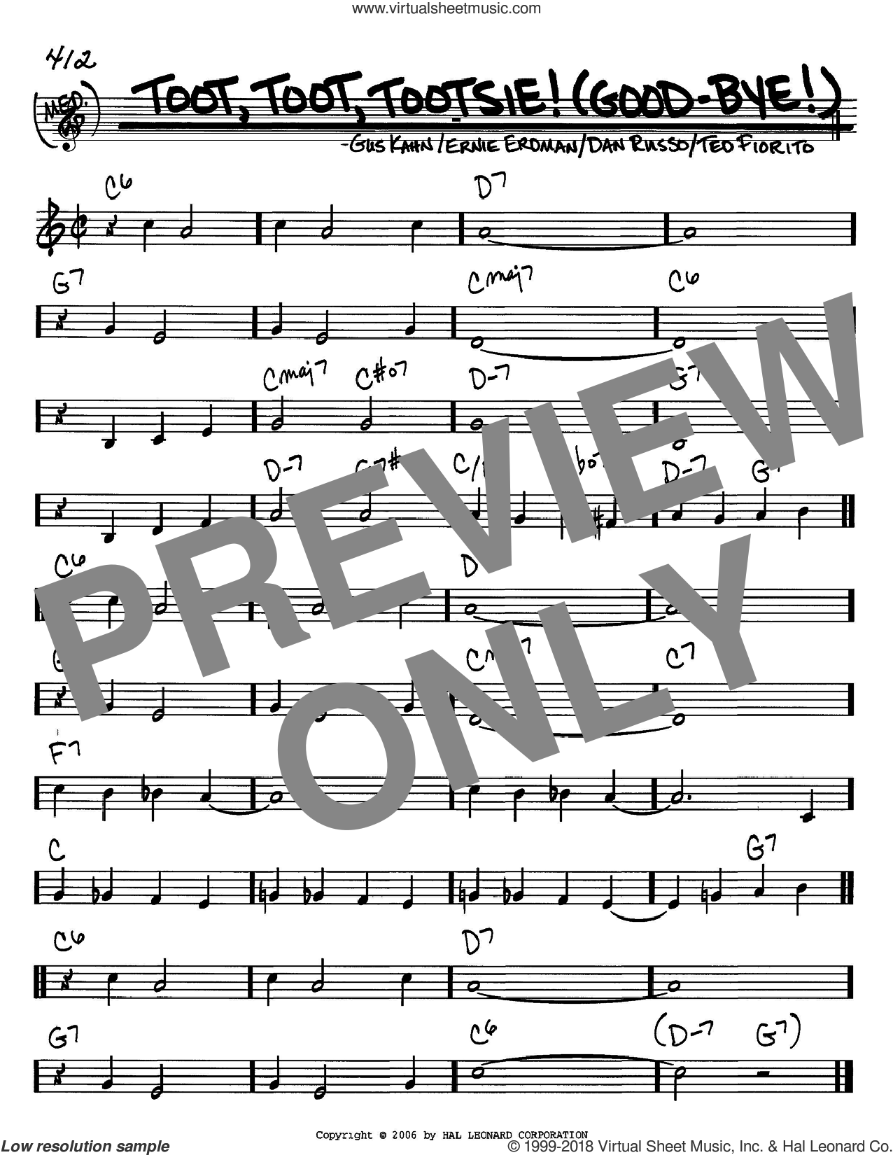 Toot, Toot, Tootsie! (Good-bye!) sheet music for voice and other instruments (C) by Ted Fiorito, Ernie Erdman and Gus Kahn. Score Image Preview.